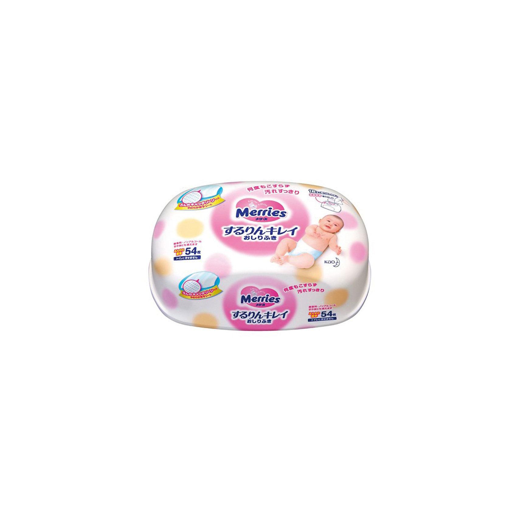 Merries Детские влажные салфетки Merries, 54 шт., пластиковый контейнер merries влажные салфетки для новорождённых 54 шт