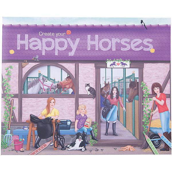 Альбом с наклейками Create your Happy Horses, Creative StudioКнижки с наклейками<br>Альбом с наклейками Create your Happy Horses, Creative Studio<br><br>Характеристики:<br><br>• В комплекте: раскраска, 6 листа с наклейками <br>• Возраст: от 3 до 6 лет<br>• Количество страниц: 32<br><br>Этот альбом из серии CreativeStudio содержит 32 листа с различными сюжетами из мира лошадей. На 6 листах с наклейками ребенок обнаружит вещи, которые помогут сделать этот мир реалистичным и разнообразить игру. Эта книга помогает развитию воображения вашего ребенка и его мелкой моторики. <br><br>Альбом с наклейками Create your Happy Horses, Creative Studio можно купить в нашем интернет-магазине.<br>Ширина мм: 268; Глубина мм: 301; Высота мм: 33; Вес г: 285; Возраст от месяцев: 36; Возраст до месяцев: 1164; Пол: Женский; Возраст: Детский; SKU: 3296282;