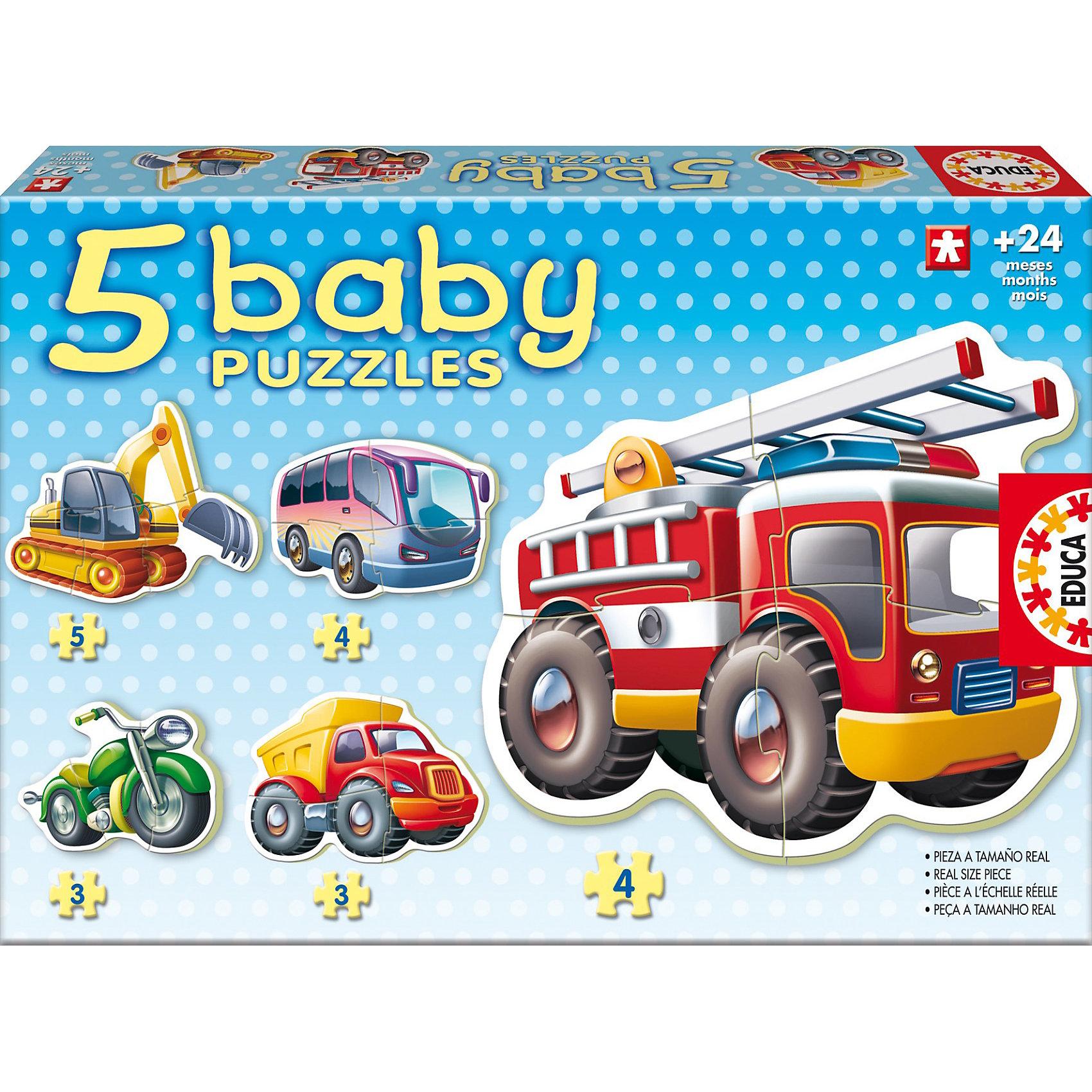 Пазл Транспорт, EducaПазлы для малышей<br>Пазл Транспорт, Educa<br><br>Характеристики:<br><br>• В набор входит: 5 пазлов по 3-4 детали<br>• Количество деталей: 19 шт.<br>• Размер упаковки: 31 * 4,5 * 21 см.<br>• Состав: картон<br>• Вес: 650 г.<br>• Для детей в возрасте: от 2 до 4 лет<br>• Страна производитель: Испания<br><br>Крупные детали пазла отлично собираются, ребёнок сможет выучить названия транспортных средств, которые можно увидеть в городе. Разные транспортные средства состоят из разного количества деталей, например экскаватор разбит на пять кусочков, а мотоцикл и самосвал на три, это делает сборку пазле ещё интереснее. Целых пять ярких пазлов дадут возможность узнавать новые слова, расширить кругозор и активный словарь. <br><br>Пазл Транспорт, Educa можно купить в нашем интернет-магазине.<br><br>Ширина мм: 323<br>Глубина мм: 220<br>Высота мм: 50<br>Вес г: 510<br>Возраст от месяцев: 24<br>Возраст до месяцев: 48<br>Пол: Унисекс<br>Возраст: Детский<br>Количество деталей: 5<br>SKU: 3297601