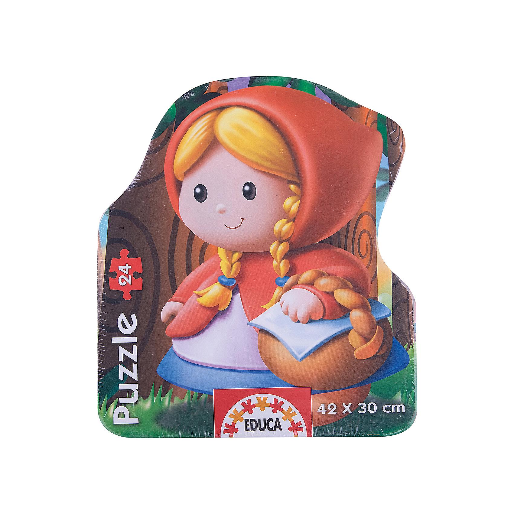 Пазл-силуэт Красная Шапочка, 24 детали, EducaПазлы для малышей<br>Пазл-силуэт Красная Шапочка, Educa<br><br>Характеристики:<br><br>• Количество деталей: 24 шт.<br>• Размер упаковки: 25 * 6 * 21 см.<br>Размер собранного пазла: 42 * 30 см.<br>• Состав: картон<br>• Вес: 460 г.<br>• Для детей в возрасте: от 3 до 6 лет<br>• Страна производитель: Испания<br><br>Знаменитую девочку Красную Шапочку можно собрать отдельно по предоставленному контуру или же сразу в лесу на пути к бабушке. Этот необычный пазл приведёт в восторг фанатов сказки и даст им новую нелегкую задачу по сборке этого пазла. Ребёнок сможет расширить свой кругозор и увеличить словарный запас, работая с этим пазлом.<br><br>Пазл-силуэт Красная Шапочка, Educa можно купить в нашем интернет-магазине.<br><br>Ширина мм: 245<br>Глубина мм: 200<br>Высота мм: 60<br>Вес г: 440<br>Возраст от месяцев: 36<br>Возраст до месяцев: 72<br>Пол: Унисекс<br>Возраст: Детский<br>Количество деталей: 24<br>SKU: 3297605