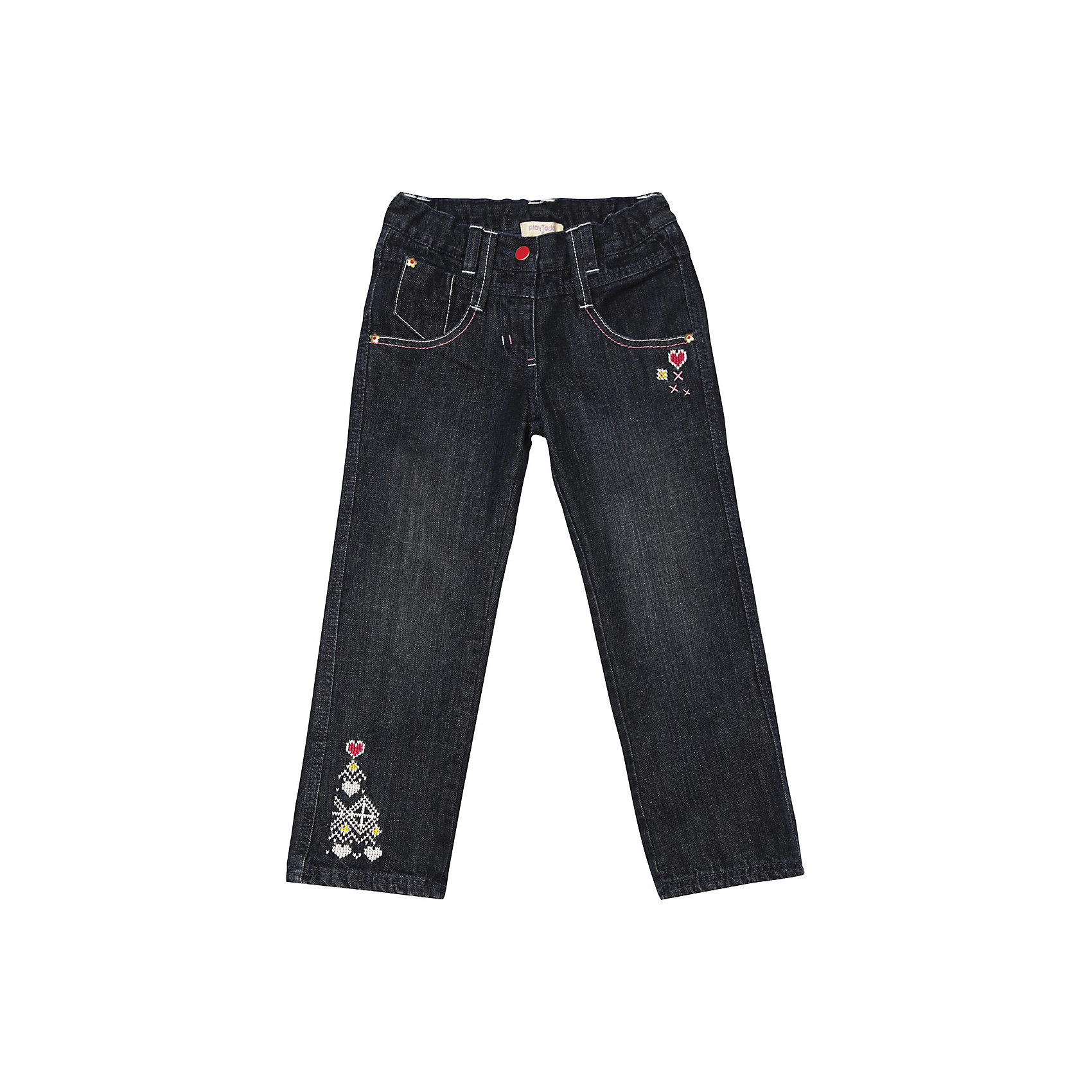 Джинсы для девочки PlayTodayДжинсовая одежда<br>* замечательные джинсы на каждый день для маленькой модницы<br>* джинсы на подкладке из хлопка<br>* пояс с внутренней резинкой <br>* застежка - болт, молния<br>* модель с карманами<br>* декор - имитация жаккарда<br>Состав:<br>100% хлопок<br><br>Брюки для девочки PlayToday (Плэйтудей) можно купить в нашем магазине.<br><br>Ширина мм: 215<br>Глубина мм: 88<br>Высота мм: 191<br>Вес г: 336<br>Цвет: синий<br>Возраст от месяцев: 24<br>Возраст до месяцев: 36<br>Пол: Женский<br>Возраст: Детский<br>Размер: 98,116,104,128,122,110<br>SKU: 3304376