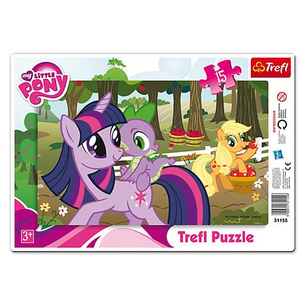Пазл  Дружба -это чудо, 15 деталей, My little PonyПазлы для малышей<br>Рамка-пазл Дружба - это Чудо от Trefl  - увлекательный набор для творчества, который будет отличным подарком для Вашей девочки. С помощью входящих в набор деталей она сможет собрать красочную картинку с любимыми многими девочками лошадками из мультфильма Моя маленькая пони (My Little Pony). Пазл отличается высоким качеством полиграфии и насыщенными цветами, детали прекрасно скрепляются между собой. Собирание пазла способствует развитию логического мышления, внимания, мелкой моторики и<br>координации движений.<br> <br>Дополнительная информация:<br><br>- Материал: картон. <br>- Размер собранной картинки: 33 х 23 см.<br>- Размер упаковки: 24,3 x 9 x 34 см.<br>- Вес: 190 гр.<br><br>Пазл Дружба – это Чудо, Trefl можно купить в нашем интернет-магазине.<br>Ширина мм: 334; Глубина мм: 233; Высота мм: 7; Вес г: 198; Возраст от месяцев: 36; Возраст до месяцев: 60; Пол: Женский; Возраст: Детский; Количество деталей: 15; SKU: 3306004;