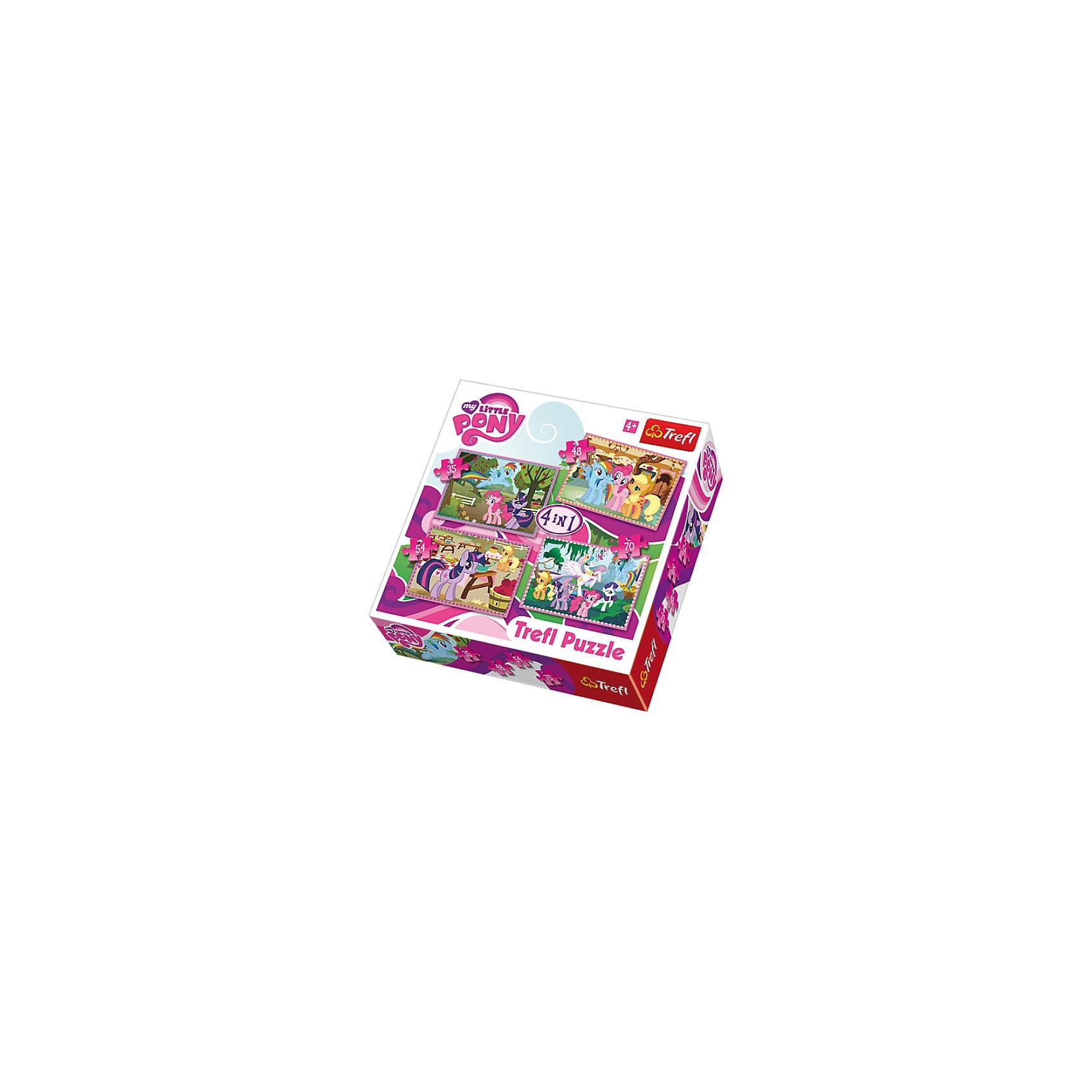 Набор пазлов 4 в 1 Пони на прогулке, 35*48*54*70 деталей, TreflMy little Pony<br>Характеристики товара:<br><br>• возраст от 4 лет;<br>• материал: картон;<br>• в комплекте: 1 пазл из 35 элементов, 1 пазл из 48 элементов, 1 пазл из 54 элементов, 1 пазл из 70 элементов;<br>• размер пазла 15х12 см;<br>• размер упаковки 28х28х6 см;<br>• вес упаковки 560 гр.;<br>• страна производитель: Польша.<br><br>Набор пазлов 4 в 1 «Пони на прогулке» Trefl создан по мотивам известного мультфильма «My Little Pony» и обязательно понравится его поклоннице. В наборе сразу 4 пазла с любимыми персонажами. Все элементы сделаны из качественного плотного картона, безопасного для детей. В процессе сборки у детей развиваются логическое мышление, усидчивость, моторика рук.<br><br>Набор пазлов 4 в 1 «Пони на прогулке» Trefl можно приобрести в нашем интернет-магазине.<br><br>Ширина мм: 285<br>Глубина мм: 286<br>Высота мм: 66<br>Вес г: 562<br>Возраст от месяцев: 60<br>Возраст до месяцев: 96<br>Пол: Женский<br>Возраст: Детский<br>Количество деталей: 35<br>SKU: 3306028