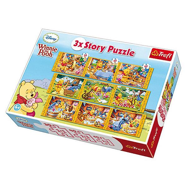 Пазлы набор 9 в 1 - Винни Пух, TreflПазлы для малышей<br>Характеристики товара:<br><br>• возраст: от 4 лет;<br>• материал: картон;<br>• в комплекте: 3 пазла по 30 деталей, 3 пазла по 40 деталей, 3 пазла по 60 деталей;<br>• размер упаковки: 39,8х26,6х4,5 см;<br>• вес упаковки: 950 гр.;<br>• страна производитель: Польша.<br><br>Набор 9 в 1 «Винни Пух» Trefl — красочные пазлы с изображением Винни Пуха и его друзей. В набор входят 9 разнообразных мини-пазлов. Все детали выполнены из плотного качественного картона и хорошо соединяются между собой. Картинка имеет специальное покрытие, которое сохраняет цвет изображения долгое время. Сборка пазлов способствует развитию логического мышления, мелкой моторики рук, усидчивости.<br><br>Набор 9 в 1 «Винни Пух» Trefl можно приобрести в нашем интернет-магазине.<br><br>Ширина мм: 398<br>Глубина мм: 269<br>Высота мм: 93<br>Вес г: 1238<br>Возраст от месяцев: 60<br>Возраст до месяцев: 96<br>Пол: Унисекс<br>Возраст: Детский<br>Количество деталей: 30<br>SKU: 3306036