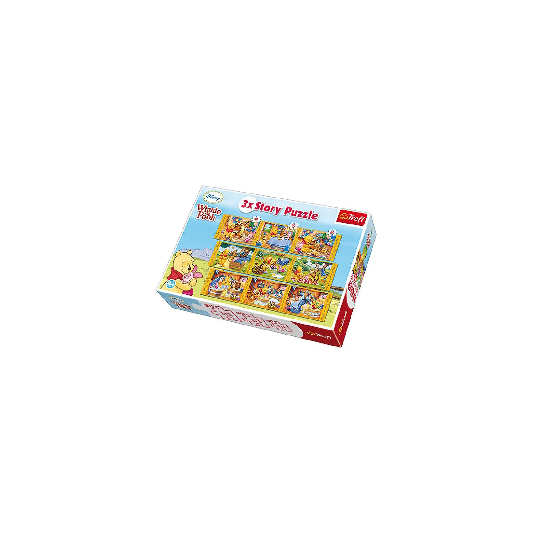 Пазлы набор 9 в 1 - Винни Пух, TreflПазлы для малышей<br>Девять небольших эпизодов из жизни диснеевского Винни-Пуха и его друзей — это яркие пазлы-приключения. Такие красочные сказочные головоломки подойдут любому малышу, так как знакомые герои попадают в веселые истории, которые можно придумать самому! <br>Игра с пазлами — это отличная возможность весело и полезно провести время. Красочные карточки привлекут и развеселят ребенка, а необходимость собирать их из маленьких фрагментов повлияет на развитие аккуратности, любознательности, внимательности, умении сосредотачиваться на одном деле и т. д. <br>В комплект входит 9 мини-пазлов. <br>Рекомендуемый возраст: от 4 лет.<br><br>Ширина мм: 398<br>Глубина мм: 269<br>Высота мм: 93<br>Вес г: 1238<br>Возраст от месяцев: 60<br>Возраст до месяцев: 96<br>Пол: Унисекс<br>Возраст: Детский<br>Количество деталей: 30<br>SKU: 3306036