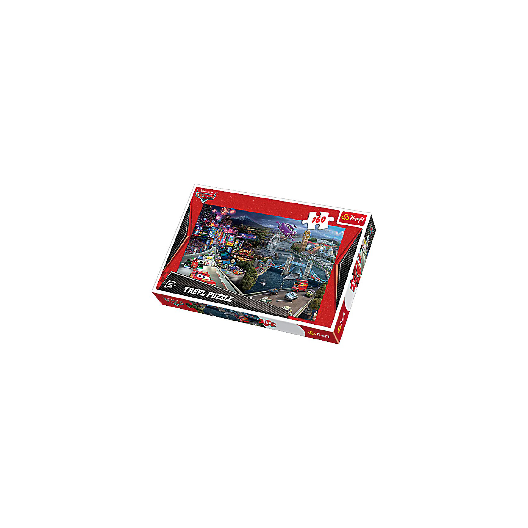 Пазлы  коллаж «Тачки 2», 160 элементовТачки<br>Количество деталей: 160 штук. <br>Размер сложенного изображения: 41х27,8 см. <br>Размер коробки: 28,8х19,3х4,1 см. <br>Пазл «Коллаж - Тачки 2» - это яркая и красивая картинка с изображением популярных героев знаменитого мульфильма на фоне панорамы Токио. На картинке очень много различных мелких элементов – машинки, детали города в отдалении (мосты, колесо обозрение, дома), деревья – это делает процесс сборки пазла очень интересным и увлекательным. Такая игрушка будет отличным подарком для мальчика старше пяти лет и поможет ему развивать логическое мышление, внимательность, терпение и усидчивость в игровой форме. <br>Игра выпущена польским брендом Trefl, известным своими пазлами во всем мире. Дело в том, что это пазлы высочайшего качества, изготавливающиеся из каландрированной бумаги, что позволяет приобрести им невероятную гладкость и яркие насыщенные цвета, которые не стираются со временем. Кроме того, это экологически чистая продукция, не способная нанести вреда ребенку и окружающей среде.<br><br>Ширина мм: 289<br>Глубина мм: 198<br>Высота мм: 43<br>Вес г: 309<br>Возраст от месяцев: 84<br>Возраст до месяцев: 108<br>Пол: Мужской<br>Возраст: Детский<br>Количество деталей: 160<br>SKU: 3306041