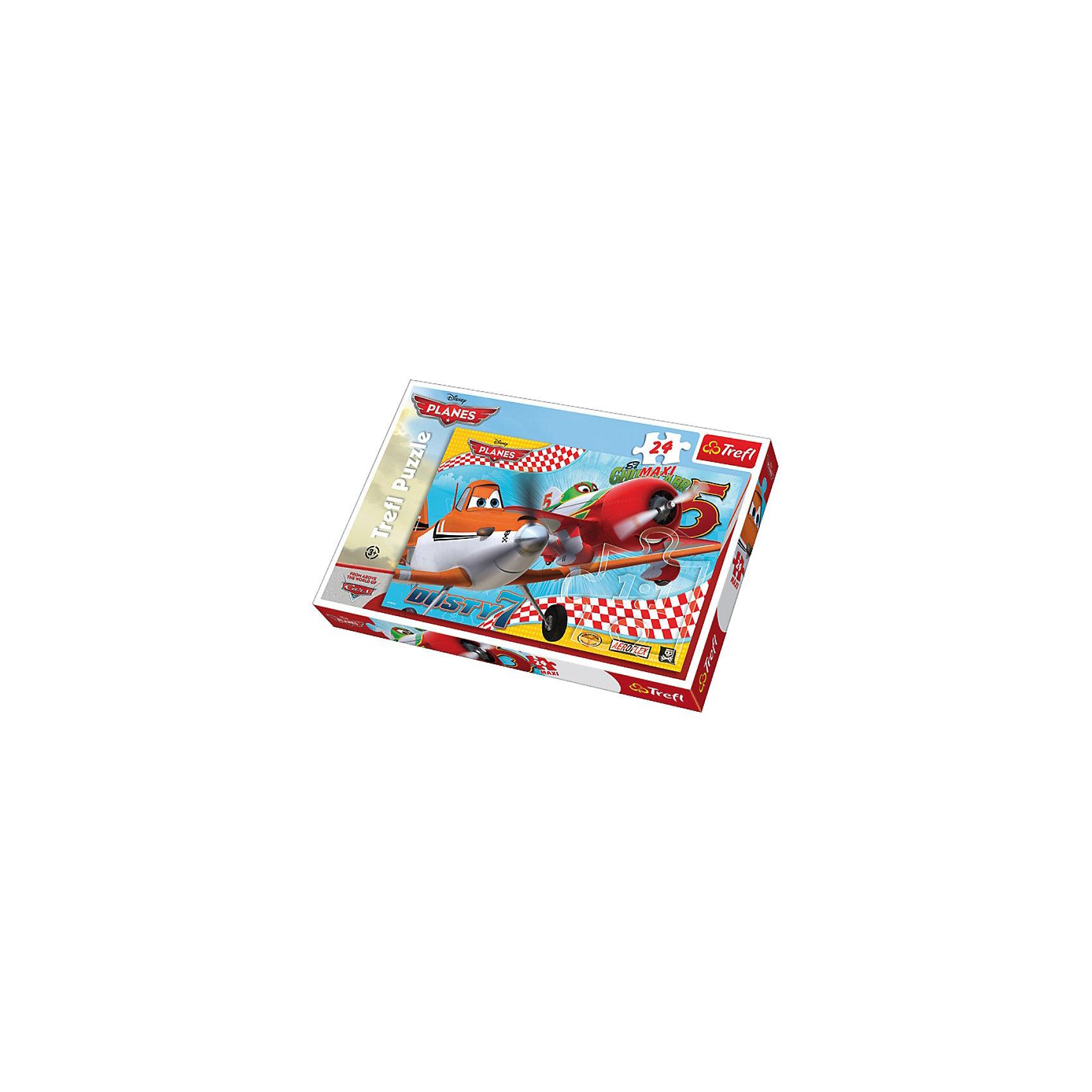 Пазлы Макси-Полет друзей, 24 элементаПазлы для малышей<br>Пазл Самолёты – Полет друзей обязательно понравится маленьким поклонникам мультфильмов студии Дисней «Самолёты» и «Тачки». В красивой коробке вы найдете 24 элемента, из которых собирается изображение героев кинокартины – двух самолетов. <br>Яркие и красочные детали мозаики изготовлены из картона и покрыты защитным слоем пластика, который позволяет им быть устойчивыми к деформации и выцветанию. Производитель пазла – польский бренд Trefl, специализирующийся на мозаиках и настольных играх для детей и взрослых.<br><br>Ширина мм: 270<br>Глубина мм: 398<br>Высота мм: 48<br>Вес г: 634<br>Возраст от месяцев: 48<br>Возраст до месяцев: 72<br>Пол: Мужской<br>Возраст: Детский<br>Количество деталей: 24<br>SKU: 3306055