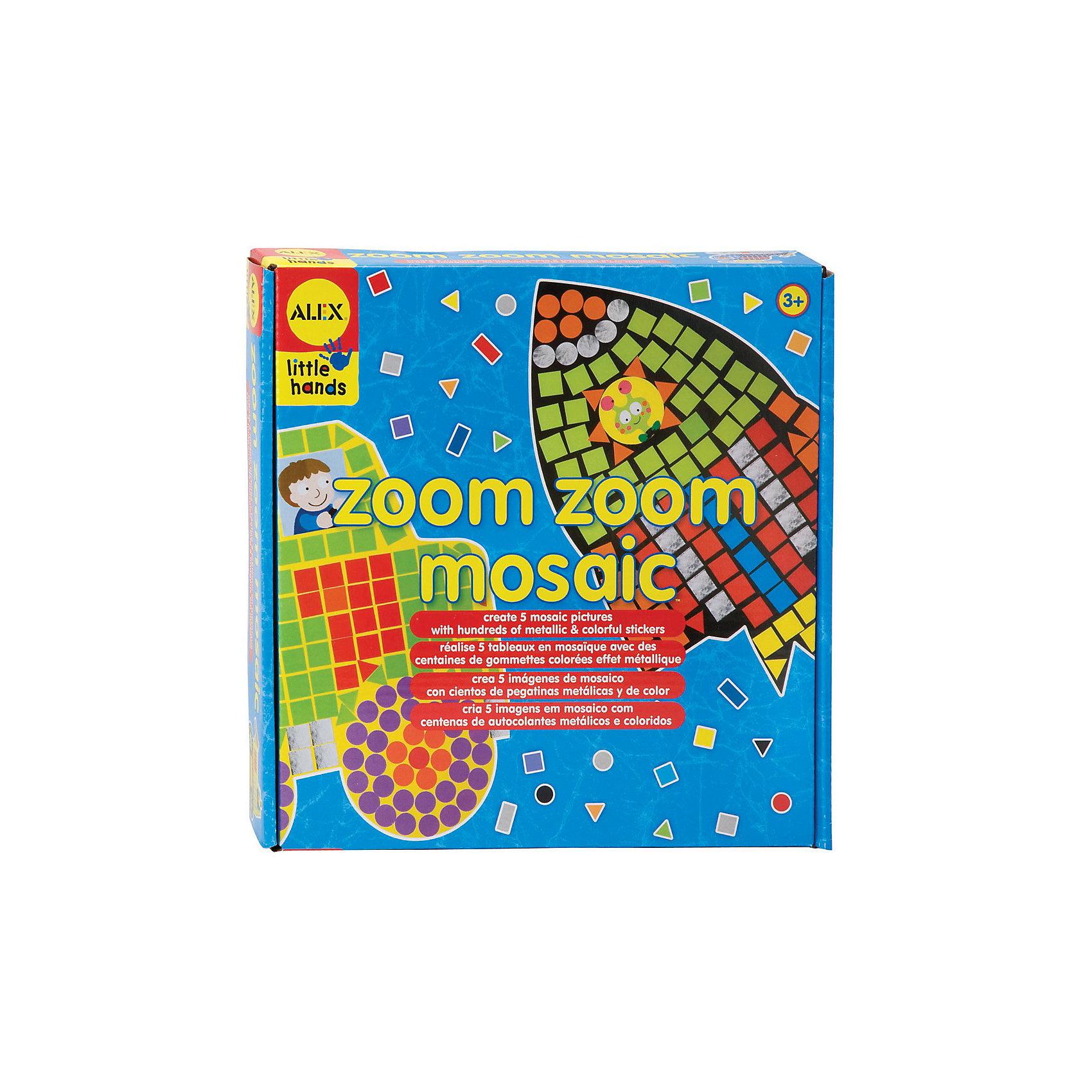 Мозаика Ускорение ALEXМозаика<br>Мозаика Ускорение от АLEX (Алекс)  это оригинальный и увлекательный набор для детского творчества. В процессе наклеивания  ярких наклеек разной формы и пяти картин-заготовок  ребенок сможет своими руками создать красивые картины. На основу уже нанесен контур изображения, ребенку необходимо заполнить белые участки в форме квадратов, кругов и треугольников разноцветными стикерами соответствующей формы. Малыш сможет создать мозаичные картинки с изображением ракеты, вертолета, пожарной машины, экскаватора и автомобиля.<br>Набор для творчества поможет малышу в развитии фантазии, изобретательности, аккуратности, а также развивает мелкую моторику рук и терпение.<br> <br>Дополнительная информация: <br>- В наборе: 5 картинок-заготовок, 1400 наклеек разных цветов и формы, в т.ч. металлизированные и простая иллюстрированная инструкция.<br>- Материал: картон, бумага<br>- Размер упаковки: 26х26х5 см.<br>- Размер основы: 24 см х 23,5 см<br>- Упаковка: картонная коробка.<br>- Вес: 272 г.<br><br>С мозаикой Ускорение Ваш ребенок сможет каждый день создавать собственными руками маленькие произведения искусства!<br><br>Мозаика Ускорение ALEX можно купить в нашем интернет-магазине.<br><br>Ширина мм: 260<br>Глубина мм: 260<br>Высота мм: 51<br>Вес г: 272<br>Возраст от месяцев: 36<br>Возраст до месяцев: 72<br>Пол: Мужской<br>Возраст: Детский<br>SKU: 3309702