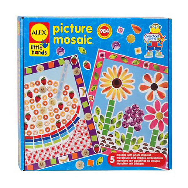 Мозаика-стикеры Из фотографий ALEX 5 картинокМозаика детская<br>Мозаика-стикеры Из фотографий ALEX  (Алекс) - это оригинальный и увлекательный набор для детского творчества. Малыш сможет создать красивую и необычную картину своими руками. Процесс наклеивания мелких деталек очень полезен для развития мелкой моторики.<br>В процессе наклеивания  ярких наклеек разной формы и пяти картин-заготовок  ребенок сможет своими руками создать красивые картины. Три  вкуснейших пироженых-тортиков  разыграют Ваш аппетит в процессе сбора мозаики. Игра с мозаикой учит детей ориентироваться в мире цветов и форм, развивает абстрактное мышление и фантазию, учит действовать по образцу, делает пальчики послушными и ловкими.<br><br>Дополнительная информация: <br>- В наборе: рамка-заготовка, 504 наклейки различной формы и цветов, 26 страз и простая иллюстрированная инструкция.<br>- Материал: пластмасса, бумага.<br>- Размер упаковки: 23х23х4 см.<br>- Упаковка: картонная коробка.<br>- Вес: 272 г.<br><br>С мозайкой-стикерами Из фотографий Ваш ребенок сможет каждый день создавать собственными руками маленькие произведения искусства!<br><br>Мозаику-стикеры Из фотографий ALEX можно купить в нашем интернет-магазине.<br><br>Ширина мм: 257<br>Глубина мм: 257<br>Высота мм: 51<br>Вес г: 272<br>Возраст от месяцев: 36<br>Возраст до месяцев: 72<br>Пол: Женский<br>Возраст: Детский<br>SKU: 3309703