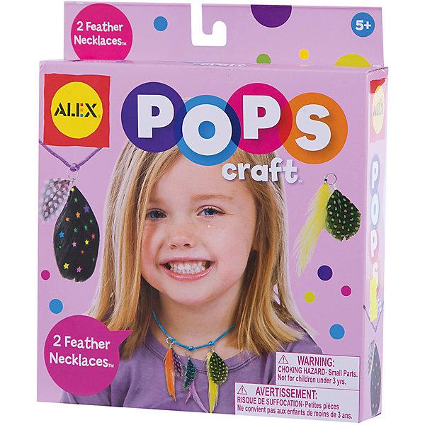 Набор для творчества POPS CRAFT Ожерелья  с цветными перышками ALEXНаборы для создания украшений и аксессуаров<br>Набор для творчества POPS CRAFT Ожерелья  с цветными перышками от ALEX (Алекс) прекрасный комплект для юных модниц. <br>Маленькой принцессе нужны новые ожерелья для выхода в свет? Не беда! Ей обязательно поможет набор для творчества Ожерелья с цветными перышками. С его помощью можно создать самой два оригинальных ожерелья по собственному дизайну.<br><br>Дополнительная информация: <br>- В наборе: 8 раскрашенных пера, 2 атласных шнурка и простая инструкция.<br>- Размер упаковки: 152х159х108 мм.<br>- Вес: 599 г.<br><br>Набор для творчества POPS CRAFT Ожерелья  с цветными перышками станет прекрасным подарком для творческих принцесс!<br><br>Набор для творчества POPS CRAFT Ожерелья  с цветными перышками ALEX  можно купить в нашем интернет-магазине.<br>Ширина мм: 210; Глубина мм: 38; Высота мм: 180; Вес г: 98; Возраст от месяцев: 60; Возраст до месяцев: 96; Пол: Женский; Возраст: Детский; SKU: 3309711;