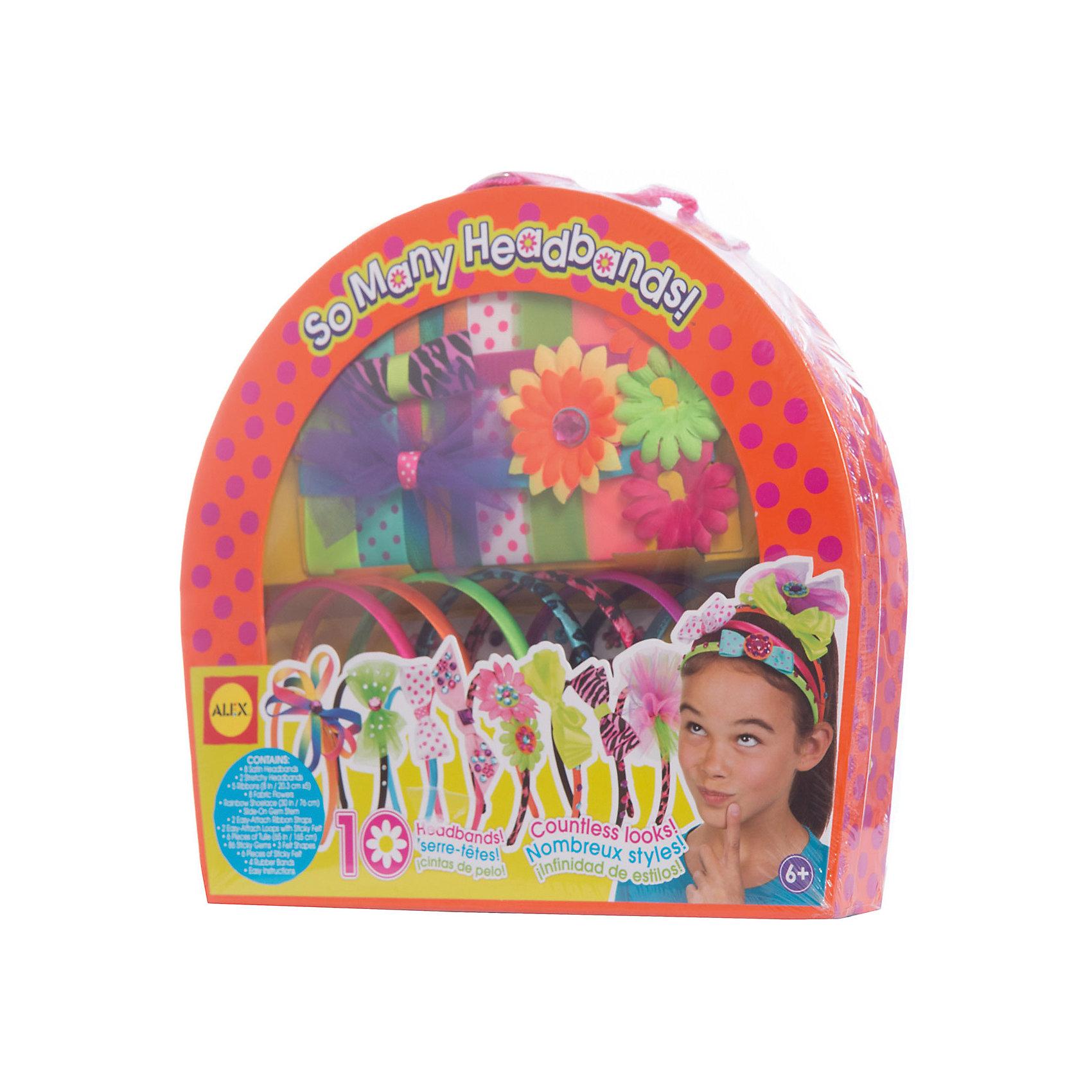 Набор 10 ободков своими руками ALEXРукоделие<br>Набор для творчества. В наборе: 8 ободков покрытых атласной тканью, 2 повязки на голову, 2 легко прикрепляемые ленты, 8 цветков, 5 лент, 86 камней, лента цвета радуги, 6 заготовок из тюли, фетровые украшения, резинки и простая инструкция, и все это упаковано в стильный чемоданчик с ручкой.<br><br>Ширина мм: 324<br>Глубина мм: 51<br>Высота мм: 298<br>Вес г: 363<br>Возраст от месяцев: 72<br>Возраст до месяцев: 120<br>Пол: Женский<br>Возраст: Детский<br>SKU: 3309734