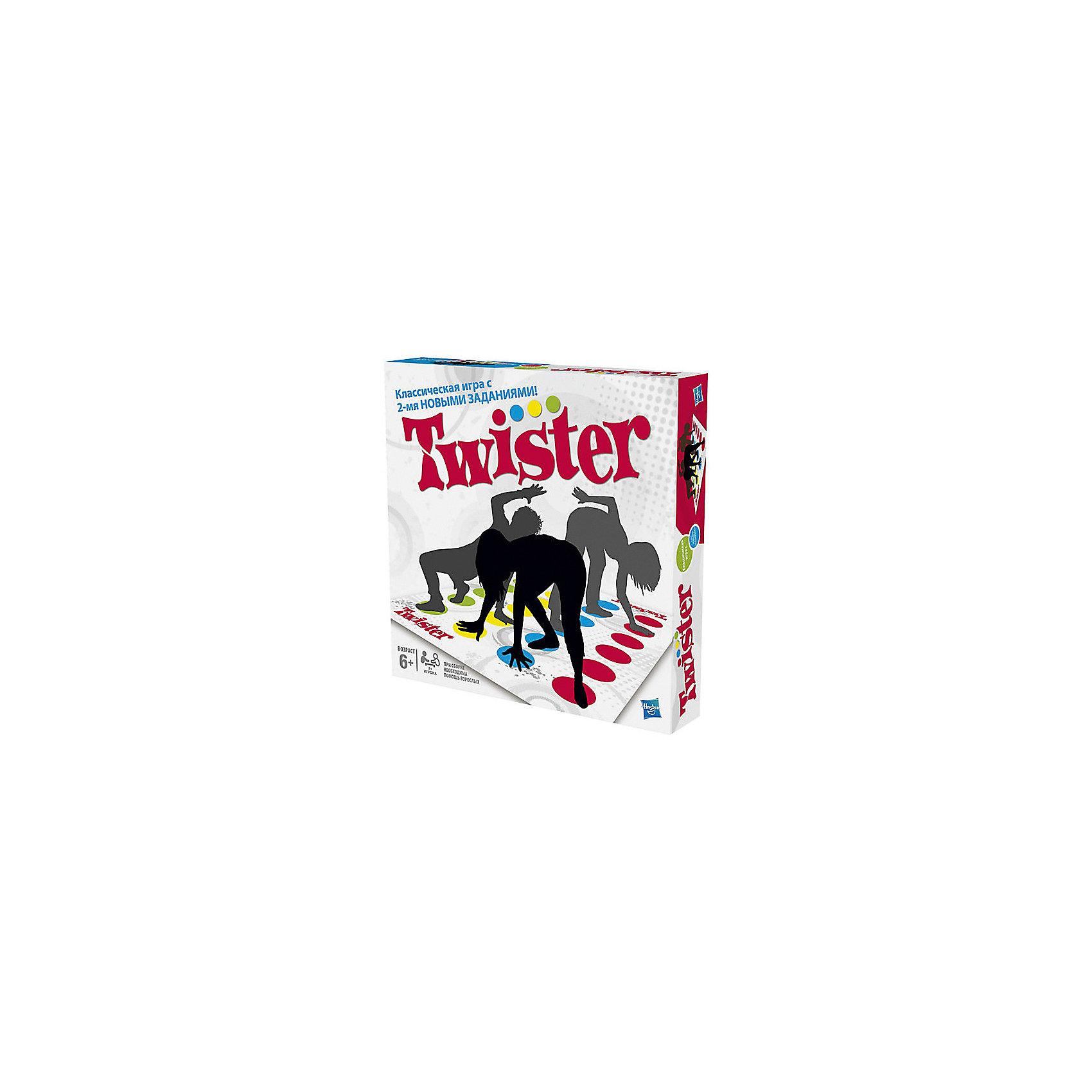 Игра Твистер 2, HasbroИгра «Твистер 2» - это продолжение знаменитой и любимой во всем мире игры. Тысячи детей и взрослых по всему миру весело и активно проводят время с этой замечательной игрой. Казалось бы, обычный коврик с разноцветными кругами и планшет со стрелкой, что может быть проще? И, тем не менее, Твистер - это настоящая легенда, игра, которая заставляет смеяться и поднимает настроение абсолютно каждому играющему. <br>Смысл игры прост: один участник раскручивает стрелку, которая, остановившись, покажет действия, которые должны сделать другой участник. Нужно, соответственно показателям стрелки, поставить ладошки и стопы на круги на поле. Принимать участие в игре могут от двух и более человек. Зачастую участникам приходится принимать очень сложные положения, главное удержаться и не упасть, все это делает игру еще более интересной и веселой. <br><br>Дополнительная информация:<br>Размер игрового поля: 130х180 см.<br>Размер упаковки: 27х27х5 см.<br>Комплектация: игровое поле из пластиковой пленки, планшет со стрелкой, инструкция.<br><br>Скука и Твистер - вещи несовместимые!  Twister 2 отличается от классической игры 2-мя НОВЫМИ ЗАДАНИЯМИ! Новые команды Воздух, и Придумай задание еще больше закрутят игрока!<br><br>Игру Твистер 2, Hasbro можно приобрести в нашем магазине.<br><br>Ширина мм: 50<br>Глубина мм: 267<br>Высота мм: 267<br>Вес г: 560<br>Возраст от месяцев: 96<br>Возраст до месяцев: 180<br>Пол: Унисекс<br>Возраст: Детский<br>SKU: 3310216