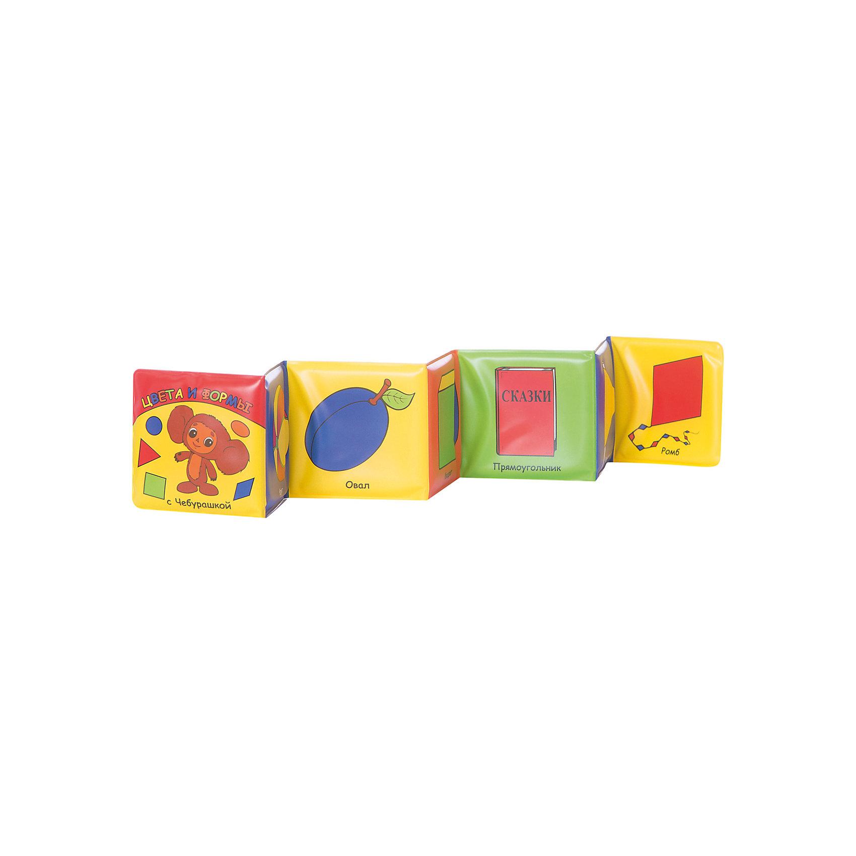 Книга для ванной Цвета и формы с ЧебурашкойКнига для ванны Цвета и формы с Чебурашкой, Умка. <br>Непромокаемая книжечка-раскладушка реагирует на нажатия. С этой книгой Ваш ребёнок может купаться и слушать песенку одновременно!<br><br>Дополнительная информация:<br><br>Серия: Книга для ванны с песенкой<br>Формат: 80х80 мм<br> Переплет: ПВХ.  <br>Объем: 14стр. <br>Батарейки: не заменяемые. <br><br>Станет прекрасным подарком Вашему малышу!<br><br>Ширина мм: 100<br>Глубина мм: 30<br>Высота мм: 150<br>Вес г: 100<br>Возраст от месяцев: 24<br>Возраст до месяцев: 60<br>Пол: Унисекс<br>Возраст: Детский<br>SKU: 3315432