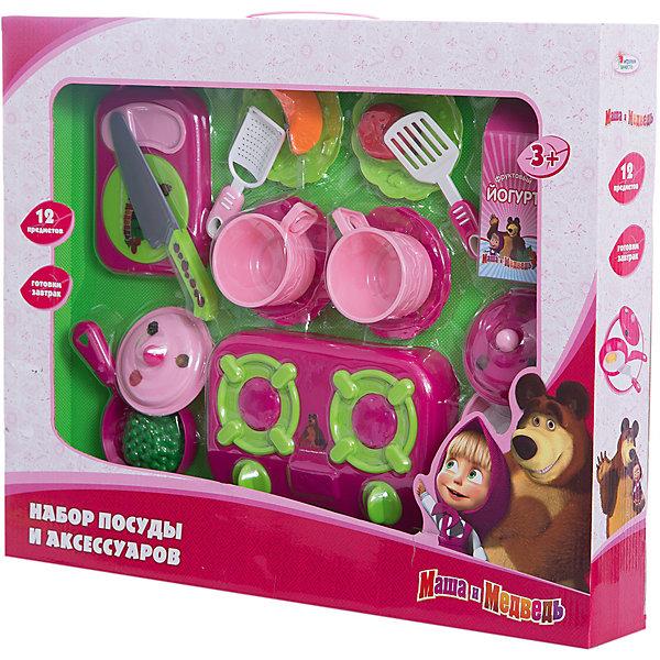 Набор посуды пластм. Маша и медведь, 12 предм.Одежда для кукол<br>Яркий пластиковый набор кухонной утвари из 12 предметов в подарочной упаковке. В набор входят: кух. плита, 2 чашки,  4 блюдца, 2 сковородки с крышкой, нож, лопатка, тёрка, разделочная доска и еда: йогурт, горошек, помидор, яичница, кусочек тыквы.<br><br>Набор посуды пластм. Маша и медведь, 12 предм. можно купить в нашем магазине.<br><br>Ширина мм: 460<br>Глубина мм: 70<br>Высота мм: 370<br>Вес г: 790<br>Возраст от месяцев: 36<br>Возраст до месяцев: 108<br>Пол: Женский<br>Возраст: Детский<br>SKU: 3315469
