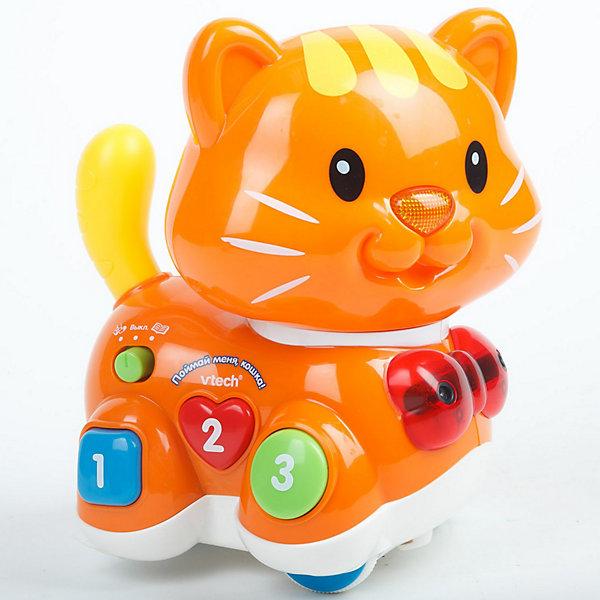 Развивающая игрушка Поймай меня Кошка, VtechИнтерактивные игрушки для малышей<br>Развивающая игрушка Поймай меня Кошка, Vtech (Втеч).<br><br>Характеристики:<br><br>• Для детей от 1,5 лет<br>• Особенности игрушки: 2 режима, регулятор скорости и чувствительности, передний и задний сенсоры, светящийся носик, разноцветные кнопки в форме квадрата, круга, сердечка с цифрами от 1 до 3, таймер автоматического отключения<br>• Материал: пластик<br>• Размер игрушки: 17 х 19 х 13,5 см.<br>• Батарейки: 4 типа ААА (в комплекте демонстрационные)<br>• Упаковка: красочная подарочная коробка<br>• Размер упаковки: 28 х 27,5 х 15 см.<br><br>Восхитительная яркая кошечка от французской компании Vtech – великолепная развивающая игрушка, которая работает в двух режимах: обучение и догонялки. В режиме «догонялки» кошка может играть с малышом в 3-х вариантах: ездить во всех направлениях, убегать и догонять. Кошка перемещается с помощью колесиков. При движении она может объезжать препятствия, благодаря встроенным сенсорам. <br><br>В процессе игры кошка будет произносить забавные фразы, мяукать или воспроизводить песенку из мультфильма По дороге с облаками. Когда малыш поймает кошечку, она ласково попросит его поиграть с ней еще раз. В режиме «обучение» ребенок познакомится с геометрическими фигурами (квадратом, кругом и сердечком) и цифрами от 1 до 3. Игрушка изготовлена из прочного безопасного не бьющегося пластика. Продается в красочной коробке и идеально подходит в качестве подарка.<br><br>Развивающую игрушку Поймай меня Кошка, Vtech (Втеч) можно купить в нашем интернет-магазине.<br>Ширина мм: 280; Глубина мм: 150; Высота мм: 280; Вес г: 1050; Возраст от месяцев: 12; Возраст до месяцев: 36; Пол: Унисекс; Возраст: Детский; SKU: 3315476;