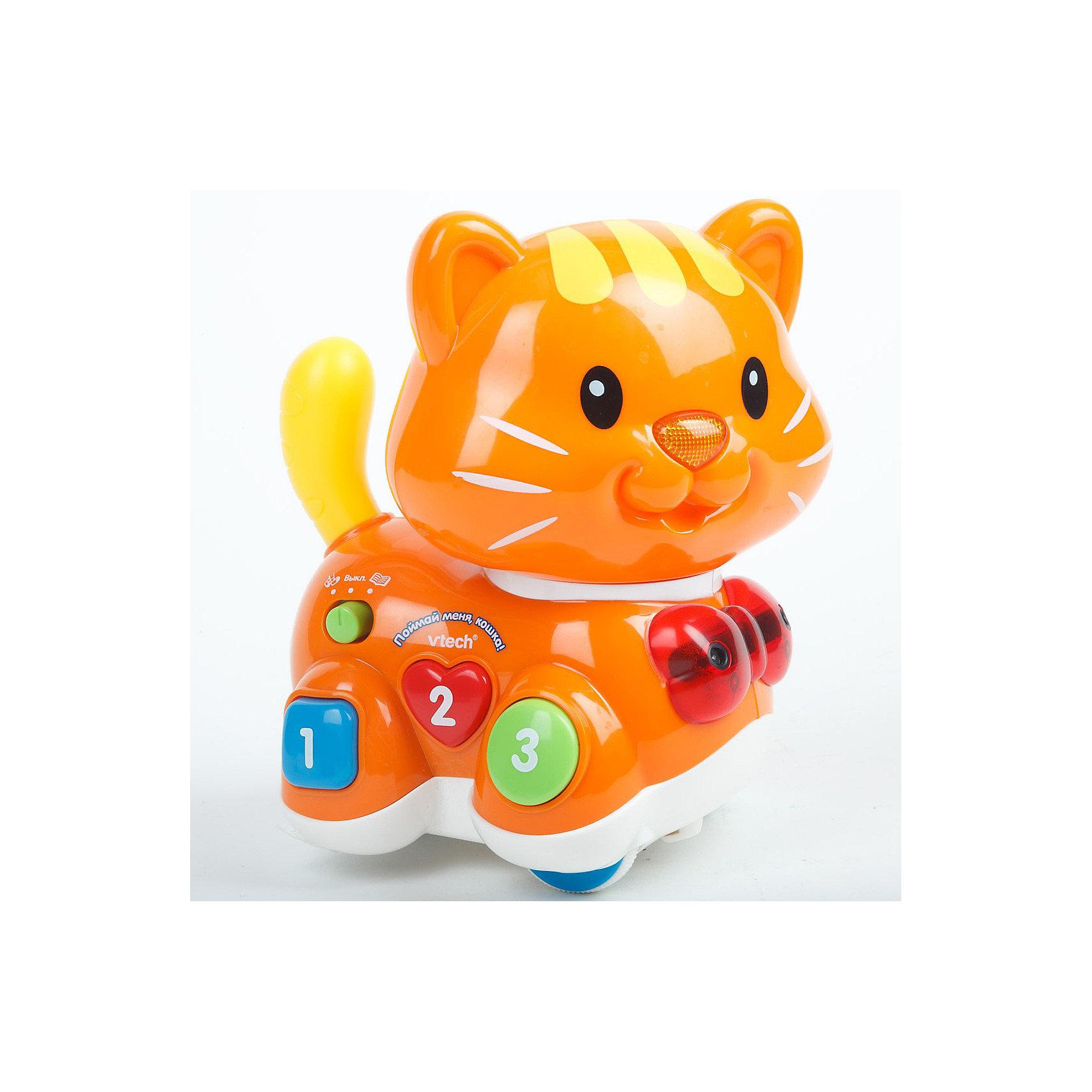 Развивающая игрушка Поймай меня Кошка, VtechИнтерактивные игрушки для малышей<br>Развивающая игрушка Поймай меня Кошка, Vtech (Втеч).<br><br>Характеристики:<br><br>• Для детей от 1,5 лет<br>• Особенности игрушки: 2 режима, регулятор скорости и чувствительности, передний и задний сенсоры, светящийся носик, разноцветные кнопки в форме квадрата, круга, сердечка с цифрами от 1 до 3, таймер автоматического отключения<br>• Материал: пластик<br>• Размер игрушки: 17 х 19 х 13,5 см.<br>• Батарейки: 4 типа ААА (в комплекте демонстрационные)<br>• Упаковка: красочная подарочная коробка<br>• Размер упаковки: 28 х 27,5 х 15 см.<br><br>Восхитительная яркая кошечка от французской компании Vtech – великолепная развивающая игрушка, которая работает в двух режимах: обучение и догонялки. В режиме «догонялки» кошка может играть с малышом в 3-х вариантах: ездить во всех направлениях, убегать и догонять. Кошка перемещается с помощью колесиков. При движении она может объезжать препятствия, благодаря встроенным сенсорам. <br><br>В процессе игры кошка будет произносить забавные фразы, мяукать или воспроизводить песенку из мультфильма По дороге с облаками. Когда малыш поймает кошечку, она ласково попросит его поиграть с ней еще раз. В режиме «обучение» ребенок познакомится с геометрическими фигурами (квадратом, кругом и сердечком) и цифрами от 1 до 3. Игрушка изготовлена из прочного безопасного не бьющегося пластика. Продается в красочной коробке и идеально подходит в качестве подарка.<br><br>Развивающую игрушку Поймай меня Кошка, Vtech (Втеч) можно купить в нашем интернет-магазине.<br><br>Ширина мм: 280<br>Глубина мм: 150<br>Высота мм: 280<br>Вес г: 1050<br>Возраст от месяцев: 12<br>Возраст до месяцев: 36<br>Пол: Унисекс<br>Возраст: Детский<br>SKU: 3315476