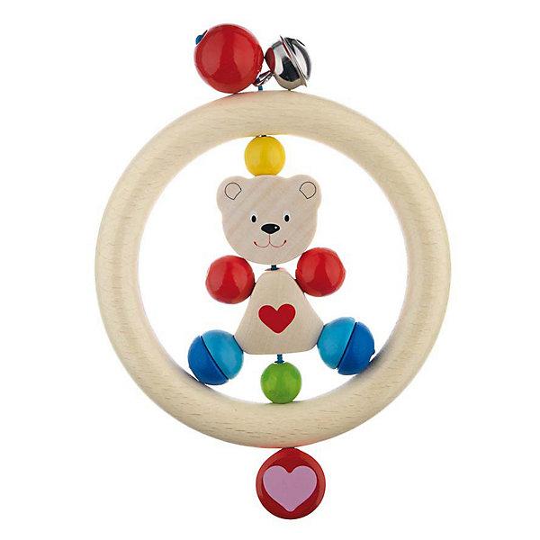Игрушка-кольцо Медвежонок с сердцем, HEIMESSИгрушки для новорожденных<br>Игрушка-кольцо Медвежонок с сердцем, HEIMESS (ХАЙМЕСС) - это качественная, красивая деревянная игрушка для малышей.<br>Игрушка-кольцо Медвежонок с сердцем от немецкого бренда HEIMESS (ХАЙМЕСС), наверняка, понравится Вашему малышу – эту игрушку так и хочется взять в руки! Игрушка состоит из деревянного кольца, внутри которого закреплена фигурка медвежонка и разноцветные элементы в виде шаров. Снаружи кольцо дополнено двумя разноцветными бусинами и колокольчиком. Игрушка изготовлена из качественной древесины и покрыта стойкими безопасными красками на водной основе. Благодаря этому ребенок может брать ее в рот. Каждый элемент игрушки хорошо отшлифован, поэтому он гладкий и без сколов. Игрушка-кольцо Медвежонок с сердцем развивает мелкую моторику рук, ведь малышу будет интересно осмотреть и ощупать маленькими пальчиками разноцветные элементы, услышать приятный звук колокольчика. Размер и конструкция игрушки замечательно подходит для маленьких детских ручек, а за деревянное кольцо очень удобно хвататься. Игрушки от Heimess (Хаймесс) уже больше 50 лет пользуются популярностью у детей и родителей. Они делаются из самых безопасных материалов и тщательно тестируются.<br><br>Дополнительная информация:<br><br>- Возраст: от 0 лет<br>- Материал: древесина, стойкие краски на водной основе<br>- Диаметр: 14 см.<br><br>Игрушку-кольцо Медвежонок с сердцем, HEIMESS (ХАЙМЕСС) можно купить в нашем интернет-магазине.<br><br>Ширина мм: 140<br>Глубина мм: 140<br>Высота мм: 30<br>Вес г: 50<br>Возраст от месяцев: 0<br>Возраст до месяцев: 12<br>Пол: Унисекс<br>Возраст: Детский<br>SKU: 3321626