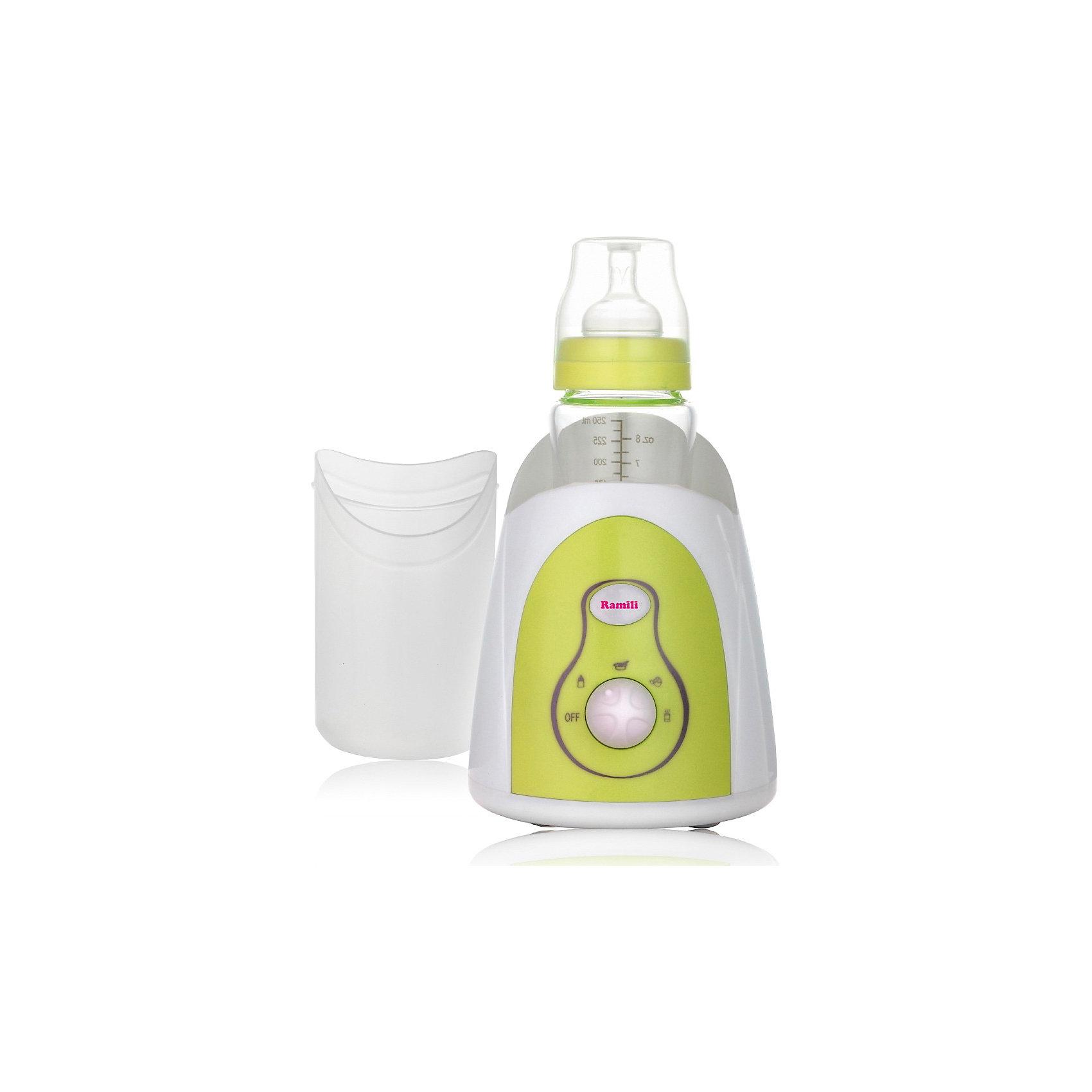 Подогреватель детского питания Ramili BFW150, 3 в 1Многофункциональный подогреватель детского питания Ramili<br><br>Мультифункциональный подогреватель для бутылочек и баночек детского питания Ramili Baby Bottle Warmer BFW150.<br>Подходит для всех видов бутылочек и баночек.<br>Функция подогрева молока.<br>Функция подогрева детского питания.<br>Приготовление еды, например, рисовой кашки.<br>Подогрев яиц.<br>Паровой мини-стерилизатор.<br>Функция поддержания постоянной температуры.<br>Точный контроль температуры.<br>Для каждой функции предусмотрена отдельная позиция на шкале термостата.<br>Подогреватель детских бутылочек прост в использовании.<br>Дополнительная насадка для приготовления (выжимки) сока. Сок можно сразу же, слегка подогреть.<br><br>Подогреватель для бутылочек и баночек детского питания Ramili Baby Bottle Warmer BFW150 изготовлен Английской компанией Ramili Group, UK.<br><br>Подогреватель, кроме основной функции - подогрева молока в бутылочке, обладает набором дополнительных возможностей, которые, совершенно точно, окажутся полезными для каждой заботливой мамы. С помощью подогревателя детских бутылочек вы можете еще и приготовить кашку для малыша, благодаря тому, что подогреватель может поддерживать постоянную температуру. Вы можете подогреть яйца для ребенка, для этого на шкале термостата даже предусмотрена отдельная позиция. С помощью удобной специально предусмотренной функции есть возможность паровой стерилизации детской бутылочки. <br><br>Многофункциональный подогреватель Ramili Baby Bottle Warmer BFW150 подходит для всех форм и видов детских бутылочек и баночек.<br><br>Ширина мм: 250<br>Глубина мм: 250<br>Высота мм: 300<br>Вес г: 1500<br>Возраст от месяцев: 0<br>Возраст до месяцев: 36<br>Пол: Унисекс<br>Возраст: Детский<br>SKU: 3322049