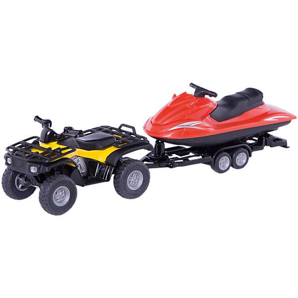 Квадроцикл с катером, SIKUМашинки<br>Яркая миниатюра Квадроцикл с катером, SIKU (СИКУ)-отличный вариант для игры в ванной комнате.<br><br>Корпус машины и прицеп выполнены из металла, передние двери машины открываются, стёкла из прозрачной тонированной пластмассы, колёса выполнены из резины и вращаются, можно катать. Прицеп отцепляется. Катер снимается с прицепа, крыша двигательного отсека катера открывается. Гидроцикл держится на воде и с легкостью перевозит пассажиров. <br><br>Дополнительная информация:<br>-Размер игрушки: 15 x 3 x 4 см<br>-Масштаб: 1:50<br>-Материал: металл и пластик<br><br>Квадроцикл с катером имеют реалистичные пропорции и точные детали настоящих аналогов. Модели SIKU (СИКУ) всегда порадуют как малышей, так и взрослых коллекционеров.<br><br>Квадроцикл с катером, SIKU (СИКУ) можно купить в нашем магазине.<br><br>Ширина мм: 209<br>Глубина мм: 81<br>Высота мм: 48<br>Вес г: 117<br>Возраст от месяцев: 36<br>Возраст до месяцев: 96<br>Пол: Мужской<br>Возраст: Детский<br>SKU: 3322314