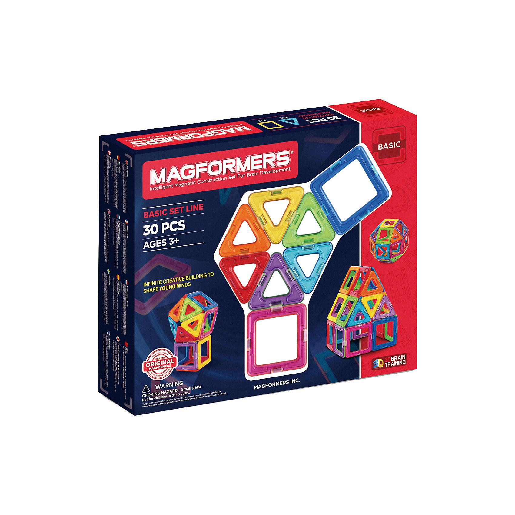 Магнитный конструктор, 30 деталей, MAGFORMERSМагнитный конструктор MAGFORMERS 30 -  уникальный магнитный конструктор, позволяющий создать множество интересных и необычных трехмерных конструкций.<br><br>Данный конструктор включает в себя  18 квадратов и 12 маленьких треугольников, с помощью которых Ваш ребенок сможет построить домик, объемный шар, башни, пирамиды, микрофон, маленький шарик и многое другое.<br><br>Яркий и цветной магнитный конструктор Magformers 30 понравится и мальчику, и девочке, а легкость сборки и многообразие решений позволят ребенку играть с этой игрушкой каждый день!<br><br>Игрушка развивает моторику, воображение и творческие способности Вашего ребенка.<br><br>Дополнительная информация:<br><br>- В комплект входят: 12 треугольников, 18 квадратов.<br>- Материалы: металл, магниты.<br><br>Магнитный конструктор MAGFORMERS 30 можно купить в нашем интернет-магазине.<br><br>Ширина мм: 230<br>Глубина мм: 220<br>Высота мм: 50<br>Вес г: 400<br>Возраст от месяцев: 36<br>Возраст до месяцев: 192<br>Пол: Унисекс<br>Возраст: Детский<br>SKU: 3323945