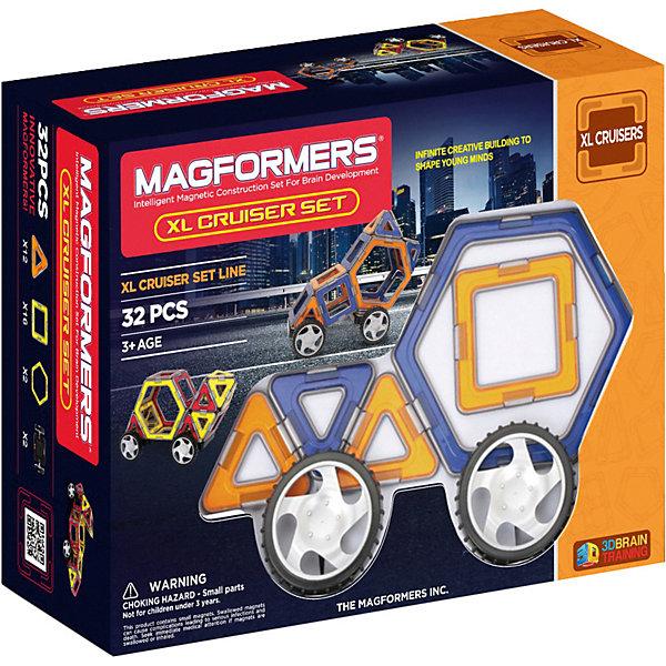 Магнитный конструктор XL Машины, 32 детали, MAGFORMERSМагнитные конструкторы<br>Магнитный конструктор Magformers XL Cruisers - рамочный магнитный конструктор с колесами, из деталей которого можно собрать около 18 моделей машин, непосредственно представленных на коробке и в книге идей, а также различные постройки (ракеты, лодочку, здания, столы, стулья для своих любимых игрушек). Колеса не снимаются. 2 колеса закреплены на квадратной платформе, на которую крепится магнитный квадрат для дальнейшего строительства.<br><br>Ширина мм: 282<br>Глубина мм: 117<br>Высота мм: 215<br>Вес г: 700<br>Возраст от месяцев: 60<br>Возраст до месяцев: 192<br>Пол: Унисекс<br>Возраст: Детский<br>SKU: 3323948