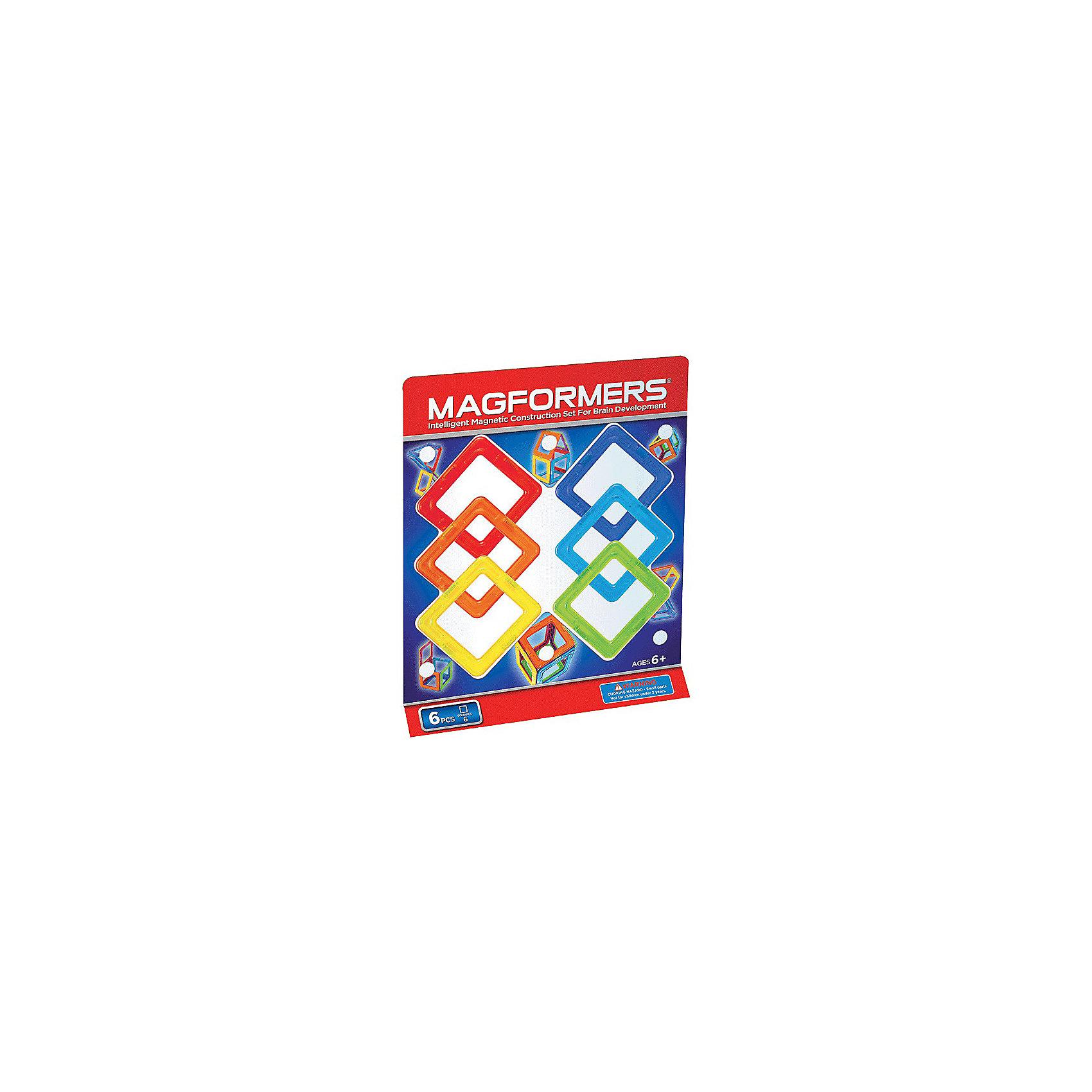 Магнитный конструктор Квадраты, 6 деталей, MAGFORMERSMagformers 6 самый маленький из наборов. Может дать ребенку первичные представления о конструкторе Magformers, геометрии и магнетизме. Малыш сможет научиться создавать фигуры на плоскости, выстраивать магниты в линию. При помощи квадратов Magformers он сможет выучить в процессе игры базовые цвета, узнает, что такое куб и как его сделать. Подходит как дополнение к уже имеющимся наборам.<br>Набор «Magformers 6» содержит 6 элементов:<br><br>Ширина мм: 220<br>Глубина мм: 51<br>Высота мм: 20<br>Вес г: 150<br>Возраст от месяцев: 36<br>Возраст до месяцев: 192<br>Пол: Унисекс<br>Возраст: Детский<br>SKU: 3323953