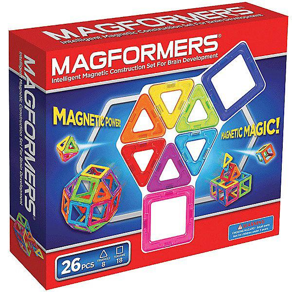 Магнитный конструктор, 26 деталей, MAGFORMERSМагнитные конструкторы<br>Магнитный конструктор MAGFORMERS 26 - отличный набор для начинающего строителя. Он рассчитан на возраст от двух лет, хотя прекрасно подойдет и ребенку от 1 года в связи с отсутствием мелких деталей. Набор Магформерс 26 состоит из квадратов и треугольников всех цветов радуги.<br><br>Количество деталей позволяет делать не только простые аппликации, но и более сложные трехмерные постройки (домики, небольшие замки, волшебный шар и т.д.). Яркие цвета развивают эстетическое восприятие, формы учат пространственному мышлению.<br><br>Набор Magformers 26 позволит не только создать какие-то фигуры из книги идей, но и проявить фантазию. Ребенок сможет сконструировать что-то особенное - придумать гараж для своих машинок или домик для любимой куклы, простейшую мебель для игрушек.<br><br>Дополнительная информация:<br><br>- в наборе 8 треугольников и 18 квадратов<br><br>Магнитный конструктор MAGFORMERS 26 можно купить в нашем магазине.<br><br>Ширина мм: 230<br>Глубина мм: 220<br>Высота мм: 50<br>Вес г: 400<br>Возраст от месяцев: 36<br>Возраст до месяцев: 192<br>Пол: Унисекс<br>Возраст: Детский<br>SKU: 3323954