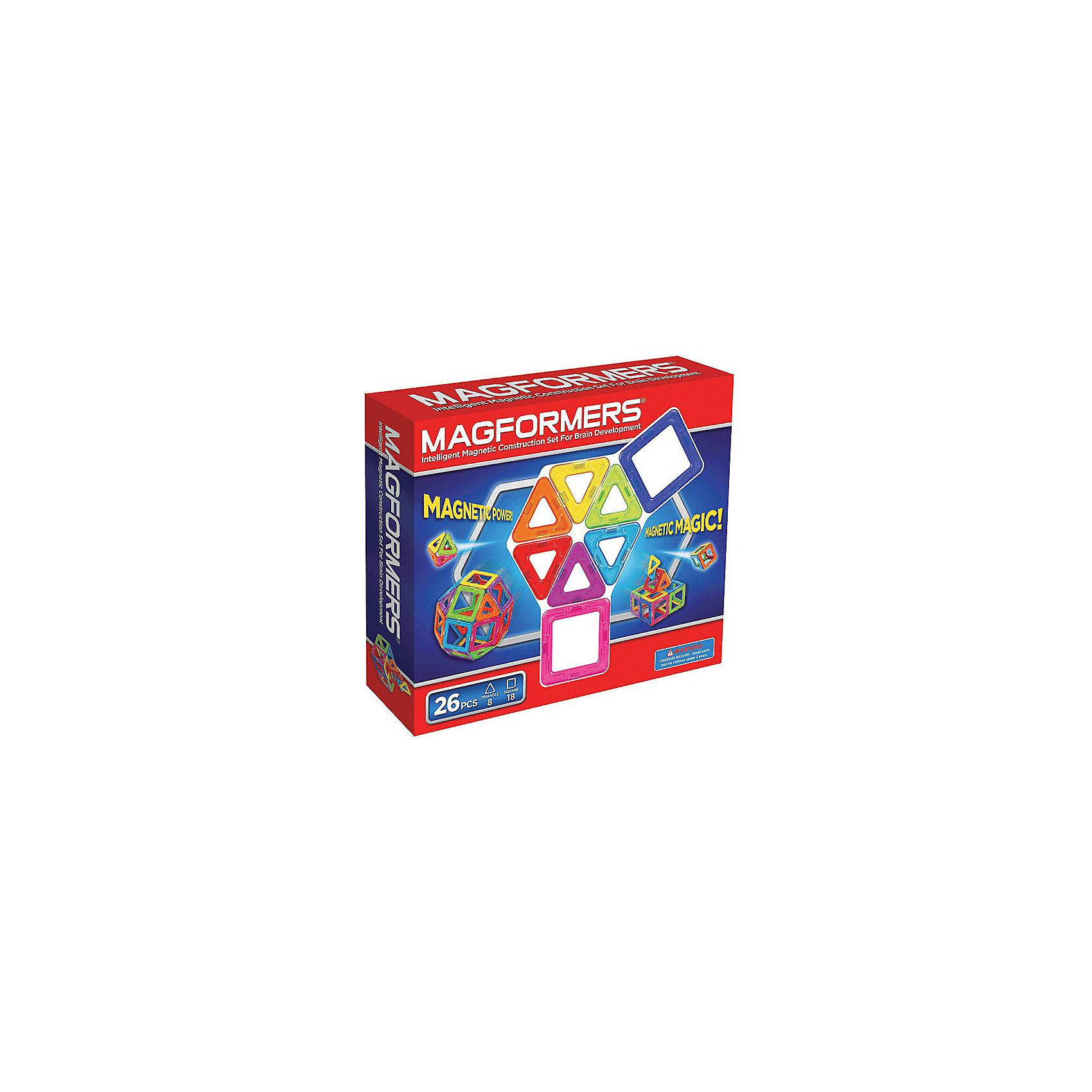 Магнитный конструктор, 26 деталей, MAGFORMERSМагнитный конструктор MAGFORMERS 26 - отличный набор для начинающего строителя. Он рассчитан на возраст от двух лет, хотя прекрасно подойдет и ребенку от 1 года в связи с отсутствием мелких деталей. Набор Магформерс 26 состоит из квадратов и треугольников всех цветов радуги.<br><br>Количество деталей позволяет делать не только простые аппликации, но и более сложные трехмерные постройки (домики, небольшие замки, волшебный шар и т.д.). Яркие цвета развивают эстетическое восприятие, формы учат пространственному мышлению.<br><br>Набор Magformers 26 позволит не только создать какие-то фигуры из книги идей, но и проявить фантазию. Ребенок сможет сконструировать что-то особенное - придумать гараж для своих машинок или домик для любимой куклы, простейшую мебель для игрушек.<br><br>Дополнительная информация:<br><br>- в наборе 8 треугольников и 18 квадратов<br><br>Магнитный конструктор MAGFORMERS 26 можно купить в нашем магазине.<br><br>Ширина мм: 230<br>Глубина мм: 220<br>Высота мм: 50<br>Вес г: 400<br>Возраст от месяцев: 36<br>Возраст до месяцев: 192<br>Пол: Унисекс<br>Возраст: Детский<br>SKU: 3323954
