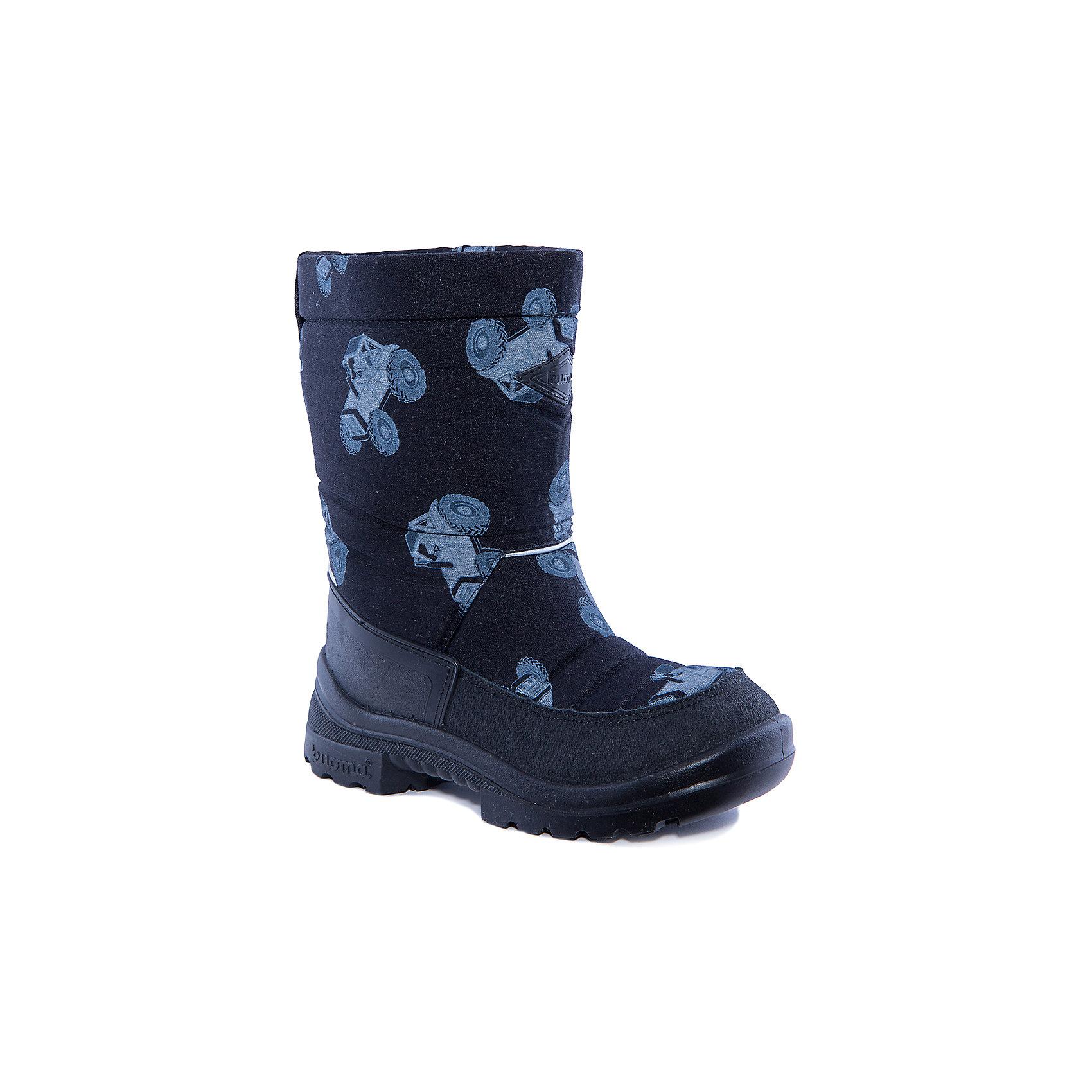 Зимние сапоги для мальчика KUOMAЗимние сапоги PUTKIVARSI от известного финского бренда kuoma® (Куома) исключительно теплые и очень удобные. Все изделия имеют крепкую амортизирующую подошву, которая «работает» даже в холодных зимних условиях. Кроме того, обувь снабжена сменными стельками и светоотражающими полосками в целях повышения безопасности. Матерчатый верх обуви проходят специальную противогрязевую и влагоотталкивающую обработку. Обувь kuoma® (Куома) подходит даже для самых холодных зим.     <br><br>Температурный режим: от - 5°C до - 30°C.<br><br>Состав:<br>Верх - триплированный, износостойкий, влагостойкий материал, стелька - иск/войлок, подошва - износостойкая, гибкая из полиуритана.Состав: <br>Материал верха: Полиамид с пропиткой.<br><br>Ширина мм: 257<br>Глубина мм: 180<br>Высота мм: 130<br>Вес г: 420<br>Цвет: черный<br>Возраст от месяцев: 15<br>Возраст до месяцев: 18<br>Пол: Мужской<br>Возраст: Детский<br>Размер: 22,36,25,26,27,29,33,34,23,35,30,38,37,32,31,28,24<br>SKU: 3326859