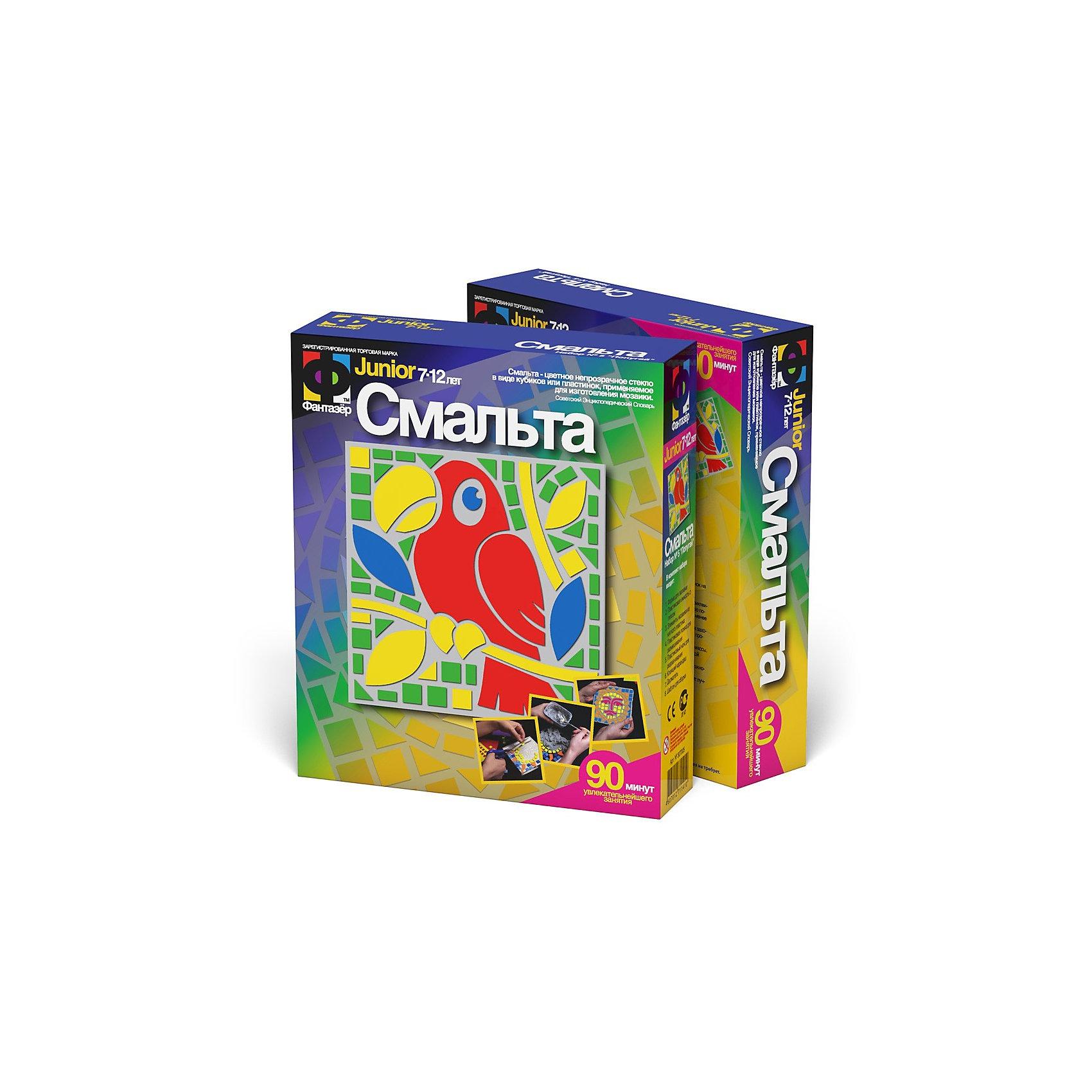 Попугай. Смальта. ФантазерДетские витражи<br>Попугай. Смальта. Фантазер <br>Смальта - цветное непрозрачное стекло в виде кубиков или пластинок, применяемое для изготовления мозайки. При помощи специальных форм, гипса и особых мозаичных элементов, выполненных из так называемого мягкого пластика, Вы сможете легко создать вместе со своим ребенком шедевр, который будете с гордостью показывать друзьям! В набор входит: гипс, формочка, формы из мягкого полимера<br><br>Ширина мм: 50<br>Глубина мм: 185<br>Высота мм: 220<br>Вес г: 400<br>Возраст от месяцев: 60<br>Возраст до месяцев: 96<br>Пол: Унисекс<br>Возраст: Детский<br>SKU: 3332431