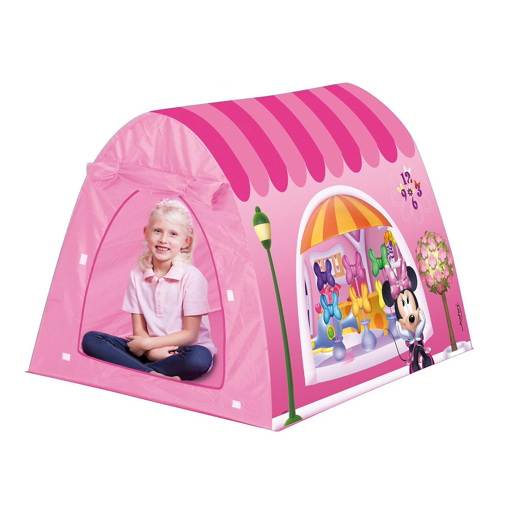 Палатка Минни, 120*100*90 см, JohnДетская игровая палатка Минни, John - настоящий сказочный домик, который станет любимым местом для игр Вашего ребенка. Красочная палатка выполнена в ярких розовых тонах и украшена изображениями мышки Минни из популярных диснеевских мультфильмов. Имеется дверь, которую можно оставлять открытой с помощью креплений-ленточек.<br>Палатка легко собирается и складывается их трубочек, составляющих каркас. Этот замечательный игровой домик поможет Вашей девочке создать свой уютный уголок для игр как в помещении, так и на улице. Палатка выполнена из легкого, водонепроницаемого, моющегося материала, компактно складывается и не занимает много места. <br><br><br>Дополнительная информация:<br><br>- Материал: текстиль, металл, пластик. <br>- Размер палатки: 120 х 100 х 90 см.<br>- Вес: 1,5 кг. <br><br>Яркая палатка будет чудесным местом для самостоятельной игры ребёнка и отлично подойдёт для сюжетно-ролевых игр. <br><br>Палатку Минни, John (Джон) можно купить в нашем интернет-магазине.<br><br>Ширина мм: 373<br>Глубина мм: 286<br>Высота мм: 106<br>Вес г: 1102<br>Возраст от месяцев: 36<br>Возраст до месяцев: 96<br>Пол: Женский<br>Возраст: Детский<br>SKU: 3334179
