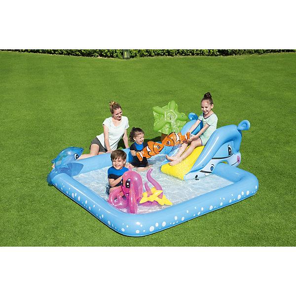 Игровой бассейн Фантастический аквариум,  BestwayБассейны<br>Характеристики товара:<br><br>• материал: винил<br>• размер: 239х206х86 см<br>• объем: 308 л<br>• легкий прочный материал<br>• надувной <br>• с брызгалкой и комплектом надувных игрушек<br>• яркий цвет<br>• комфортный<br>• возраст: от 3 лет<br>• страна бренда: США, Китай<br>• страна производства: Китай<br><br>Это отличный способ научить малышей не бояться воды и обеспечить детям веселое времяпровождение! Его можно просто наполнить шариками или заполнить водой, тогда бассейн поможет ребенку больше времени проводить на воде и свежем воздухе.<br><br>Предмет сделан из прочного материала, но очень легкого. Бассейн мало весит, его удобно брать с собой. Изделие произведено из качественных и безопасных для детей материалов.<br><br>Игровой бассейн Фантастический аквариум от бренда Bestway (Бествей) можно купить в нашем интернет-магазине.<br>Ширина мм: 404; Глубина мм: 403; Высота мм: 104; Вес г: 4315; Возраст от месяцев: 36; Возраст до месяцев: 72; Пол: Унисекс; Возраст: Детский; SKU: 3340163;