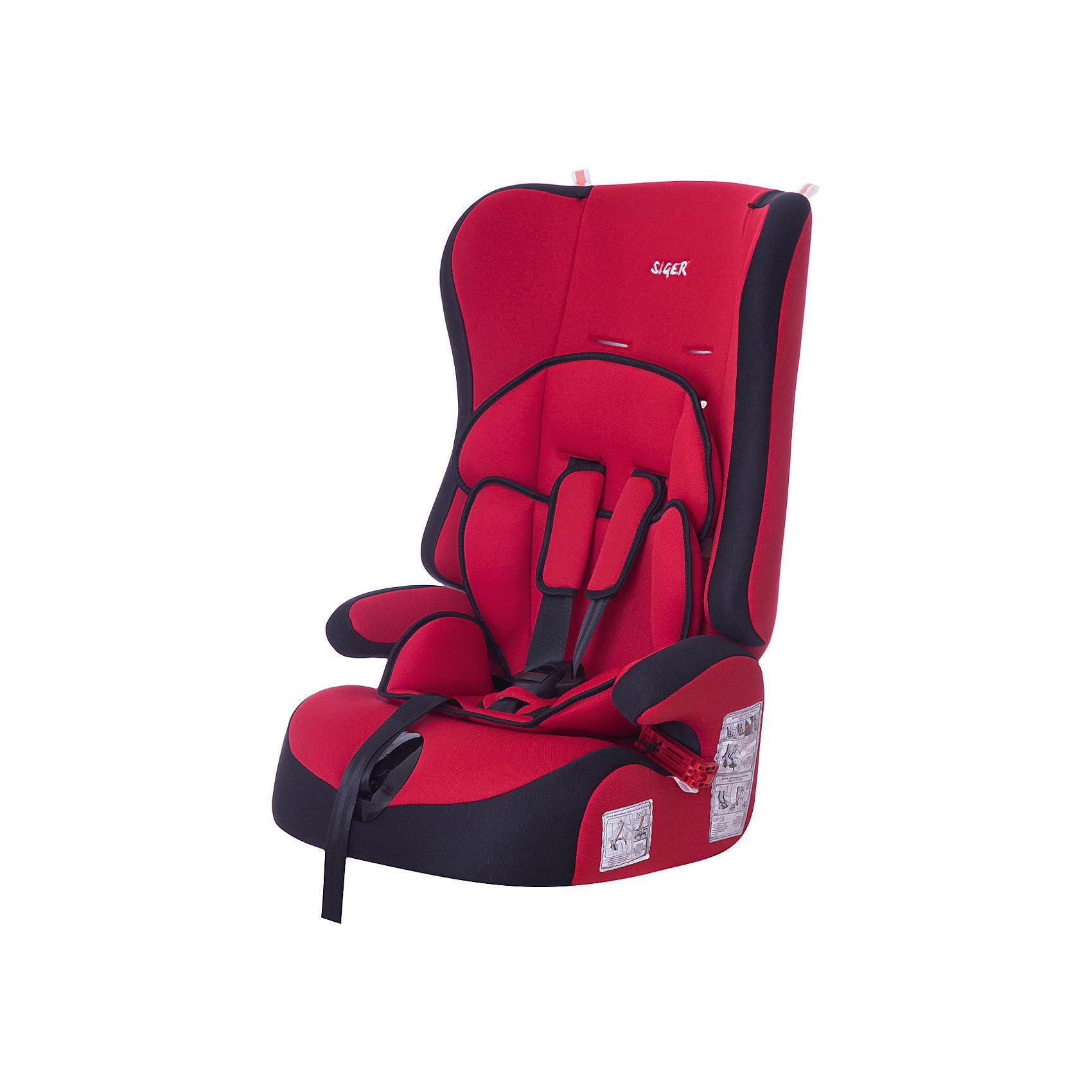 Автокресло  Прайм, 9-36 кг., SIGER, красныйДетское автомобильное кресло SIGER  Прайм.  <br>Подходит для детей весом от 9 до 36 килограмм. Возрастная категория от 1 года до 12 лет. <br>Описание:<br>- трансформируется в модели «-Спорт» и «-Бустер»;<br>- чехол – трикотажное полотно, плотность 250 г/м2;<br>- специальная G-скоба, облегчающая установку кресла;<br>- ортопедическая спинка и особая форма подголовника защищает голову и плечи малыша от боковых ударов;<br>- двухпозиционная регулировка внутреннего ремня (лето-зима);<br>- износостойкий чехол, легко стирается, не вызывает аллергических реакций, не  выгорает;<br>- ортопедическая округлая форма сиденья предохраняет ножки малыша от затекания.<br>Дополнительная информация:<br> - ширина посадочного места – 27-34 см;<br>- глубина посадочного места – 30 см;                                                                                                                    <br>- высота посадочного места – 12 см.<br>- высота спинки – 58 см;<br>- нижнее положение ремней безопасности – 30см;<br>- среднее положение ремней безопасности – 35см;<br>- верхнее положение ремней безопасности – 40см;<br>- вес – 4,8 кг.<br>- корпус – ПНД-пластмасса ПЭ2МТ76-17.<br>- цвет - красный.<br>Детское автомобильное кресло SIGER Прайм  можно купить в нашем интернет-магазине.<br><br>Ширина мм: 420<br>Глубина мм: 420<br>Высота мм: 870<br>Вес г: 4800<br>Возраст от месяцев: 12<br>Возраст до месяцев: 144<br>Пол: Унисекс<br>Возраст: Детский<br>SKU: 3340350