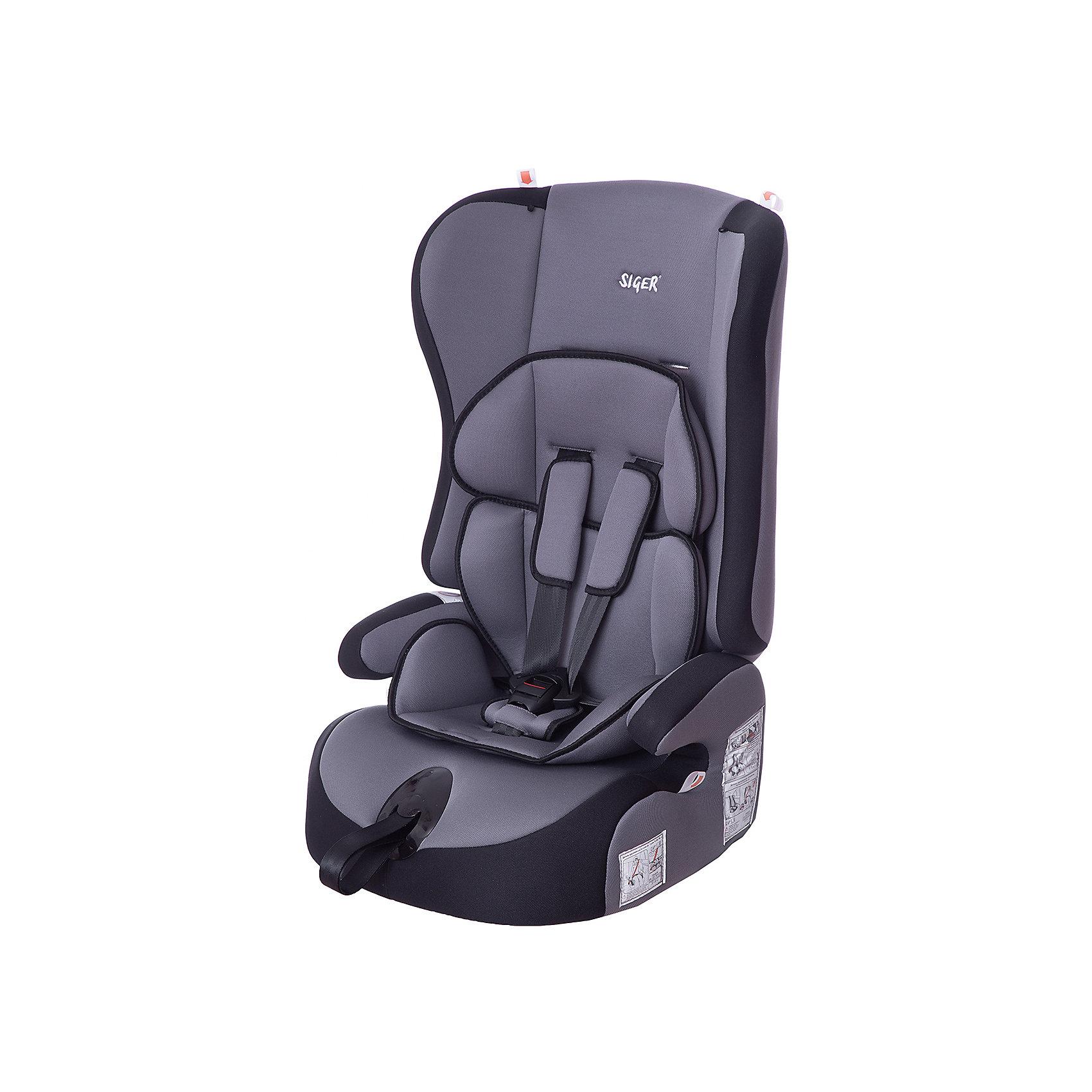 Автокресло Siger Прайм, 9-36 кг, серыйГруппа 1-2-3 (От 9 до 36 кг)<br>Детское автомобильное кресло SIGER  Прайм.  <br>Подходит для детей весом от 9 до 36 килограмм. Возрастная категория от 1 года до 12 лет. <br>Описание:<br>- трансформируется в модели «-Спорт» и «-Бустер»;<br>- чехол – трикотажное полотно, плотность 250 г/м2;<br>- специальная G-скоба, облегчающая установку кресла;<br>- ортопедическая спинка и особая форма подголовника защищает голову и плечи малыша от боковых ударов;<br>- двухпозиционная регулировка внутреннего ремня (лето-зима);<br>- износостойкий чехол, легко стирается, не вызывает аллергических реакций, не  выгорает;<br>- ортопедическая округлая форма сиденья предохраняет ножки малыша от затекания.<br>Дополнительная информация:<br> - ширина посадочного места – 27-34 см;<br>- глубина посадочного места – 30 см;                                                                                                                    <br>- высота посадочного места – 12 см.<br>- высота спинки – 58 см;<br>- нижнее положение ремней безопасности – 30см;<br>- среднее положение ремней безопасности – 35см;<br>- верхнее положение ремней безопасности – 40см;<br>- вес – 4,8 кг.<br>- корпус – ПНД-пластмасса ПЭ2МТ76-17.<br>- цвет - серый.<br>Детское автомобильное кресло SIGER Прайм  можно купить в нашем интернет-магазине.<br><br>Ширина мм: 420<br>Глубина мм: 420<br>Высота мм: 870<br>Вес г: 4800<br>Возраст от месяцев: 12<br>Возраст до месяцев: 144<br>Пол: Унисекс<br>Возраст: Детский<br>SKU: 3340351