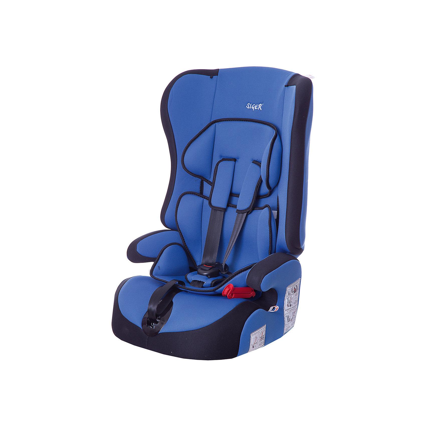 Автокресло Прайм, 9-36 кг., SIGER, синийДетское автомобильное кресло SIGER  Прайм.  <br>Подходит для детей весом от 9 до 36 килограмм. Возрастная категория от 1 года до 12 лет. <br>Описание:<br>- трансформируется в модели «-Спорт» и «-Бустер»;<br>- чехол – трикотажное полотно, плотность 250 г/м2;<br>- специальная G-скоба, облегчающая установку кресла;<br>- ортопедическая спинка и особая форма подголовника защищает голову и плечи малыша от боковых ударов;<br>- двухпозиционная регулировка внутреннего ремня (лето-зима);<br>- износостойкий чехол, легко стирается, не вызывает аллергических реакций, не  выгорает;<br>- ортопедическая округлая форма сиденья предохраняет ножки малыша от затекания.<br>Дополнительная информация:<br> - ширина посадочного места – 27-34 см;<br>- глубина посадочного места – 30 см;                                                                                                                    <br>- высота посадочного места – 12 см.<br>- высота спинки – 58 см;<br>- нижнее положение ремней безопасности – 30см;<br>- среднее положение ремней безопасности – 35см;<br>- верхнее положение ремней безопасности – 40см;<br>- вес – 4,8 кг.<br>- корпус – ПНД-пластмасса ПЭ2МТ76-17.<br>- цвет - синий.<br>Детское автомобильное кресло SIGER Прайм  можно купить в нашем интернет-магазине.<br><br>Ширина мм: 420<br>Глубина мм: 420<br>Высота мм: 870<br>Вес г: 4800<br>Возраст от месяцев: 12<br>Возраст до месяцев: 144<br>Пол: Унисекс<br>Возраст: Детский<br>SKU: 3340352