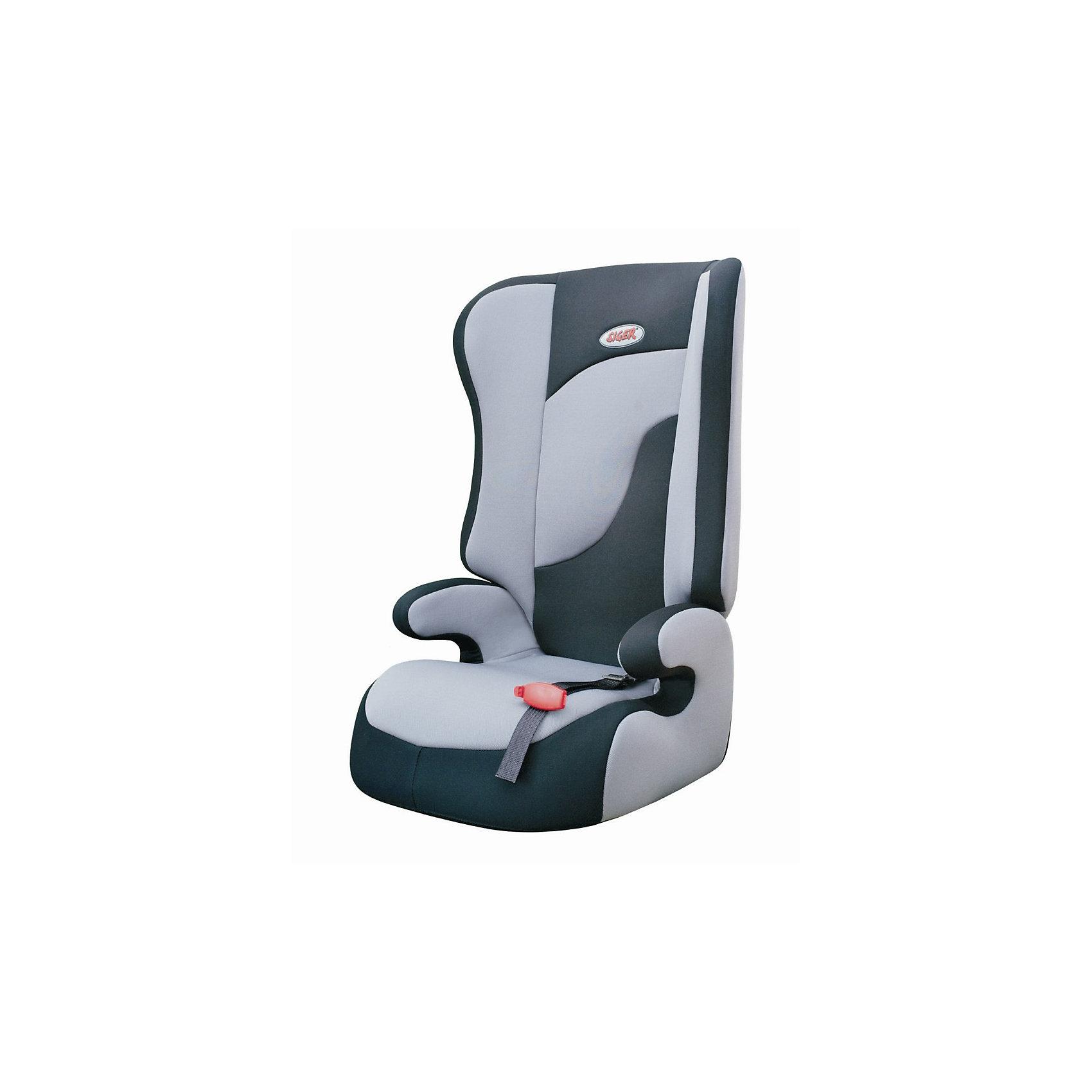 Автокресло Siger Спорт, 15-36 кг, серыйГруппа 2-3 (От 15 до 36 кг)<br>Детское автомобильное кресло SIGER Спорт.<br>Подходит для детей весом от 15 до 36 килограмм. Возрастная категория от 3 до 12 лет.<br>Описание: <br>- трансформируется в  модели «-Прайм» и «-Бустер»; <br>- чехол – трикотажное полотно, плотность 250 г/м2;<br>- ортопедическая спинка и особая форма подголовника защитят голову и плечи малыша от боковых ударов;<br>- износостойкий чехол легко снимается для стирки (ручной и автоматической), не садится, не выгорает и не вызывает аллергических реакций;<br>- ребенок пристегивается  штатным ремнем безопасности автомобиля;<br>- округлая форма сиденья не «режет» ножки, предохраняя их от затекания  в дальней дороге.<br>Дополнительная информация:<br>- ширина посадочного места – 27-34 см;<br>- глубина посадочного места – 30 см;<br>- высота посадочного места – 12 см;<br>- высота спинки – 58 см;<br>- вес – 3,8 кг.<br> - корпус – ПНД-пластмасса ПЭ2МТ76-17;<br>- цвет – серый.<br>Детское автомобильное кресло SIGER Спорт можно купить в нашем интернет-магазине.<br><br>Ширина мм: 440<br>Глубина мм: 420<br>Высота мм: 800<br>Вес г: 3800<br>Возраст от месяцев: 36<br>Возраст до месяцев: 144<br>Пол: Унисекс<br>Возраст: Детский<br>SKU: 3340355