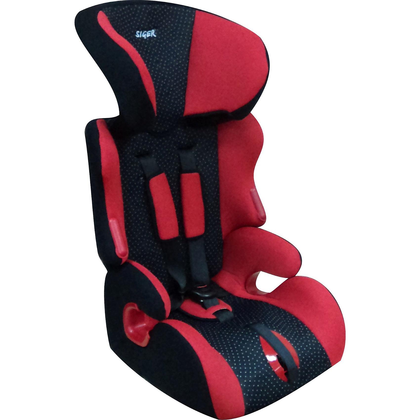 Автокресло Siger Космо, 9-36 кг, красныйГруппа 1-2-3 (От 9 до 36 кг)<br>Детское автомобильное  кресло  SIGER  Космо. <br>Подходит для детей весом от 9 до 36 килограмм. Возрастная категория от 1 года до 12 лет.<br>Описание:<br>- регулировка спинки  в 3-х положениях;<br>- регулировка подголовника в 6-ти положениях; <br>- усиленная боковая защита; <br>- удобные крепления штатных ремней безопасности; <br>- регулировка ремней по глубине – в 2-х положениях;<br>- износостойкие пластиковые вставки подлокотников; <br>- выраженная боковая поддержка;<br>- ортопедическая форма сиденья;<br>- трансформируется в группу 2 (15-25 кг., от 3 до 7 лет) - без внутренних ремней и группу 3 (22-36 кг., от 6 до 10 лет) - без спинки.<br>Дополнительная информация:<br>- ширина посадочного места – 27-31 см;<br>- глубина посадочного места – 33 см;<br>- высота посадочного места – 10 см;<br>- нижнее положение ремней безопасности – 27см;<br>- среднее положение ремней безопасности – 32см;<br>- верхнее положение ремней безопасности – 37см;<br>- вес – 4,7 кг.<br>- цвет -  красный.<br>Детское автомобильное кресло SIGER Космо можно купить в нашем интернет-магазине.<br><br>Ширина мм: 440<br>Глубина мм: 420<br>Высота мм: 800<br>Вес г: 4700<br>Возраст от месяцев: 12<br>Возраст до месяцев: 144<br>Пол: Унисекс<br>Возраст: Детский<br>SKU: 3340362