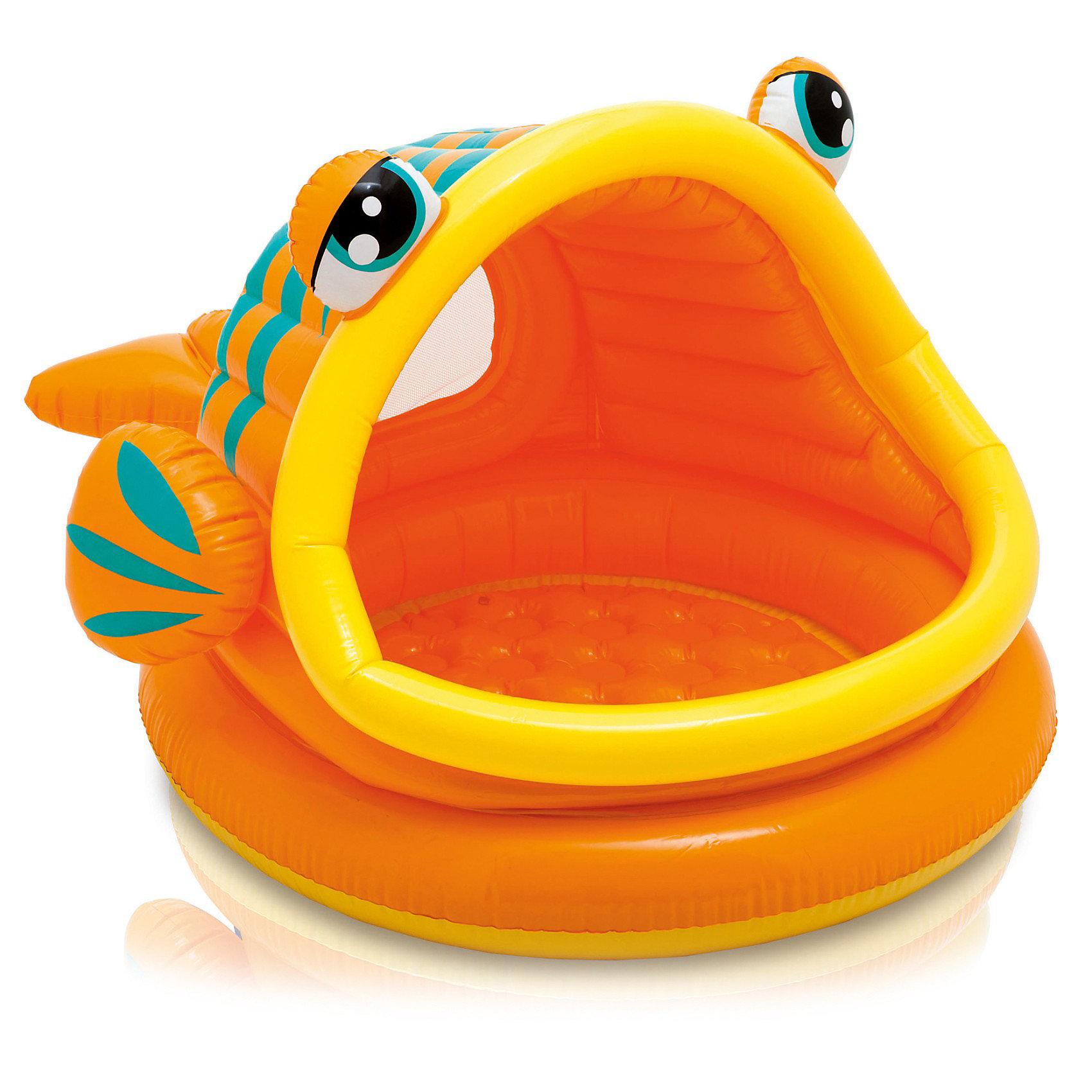 Бассейн с навесом Ленивая рыбка, IntexКрасивый бассейн, выполненный в оригинальном дизайне и яркой цветовой гамме, обязательно понравится малышам. Бассейн имеет навес, который защитит ребенка от солнца. Изготовлен из  высококачественного материала, прочный, безопасный для детей. Бассейн можно использовать как на улице, так и в помещении, в качестве игрового домика для ребенка. <br><br>Дополнительная информация:<br>- Дно: надувное.<br>- Материал: ПВХ.<br>- Размер: 124х109х71 см.<br>- Объем: 53 литра.<br>- Цвет: оранжевый.<br><br>Бассейн с навесом Ленивая рыбка, Intex можно купить в нашем магазине.<br><br>Ширина мм: 310<br>Глубина мм: 271<br>Высота мм: 81<br>Вес г: 1843<br>Возраст от месяцев: 12<br>Возраст до месяцев: 36<br>Пол: Унисекс<br>Возраст: Детский<br>SKU: 3340380