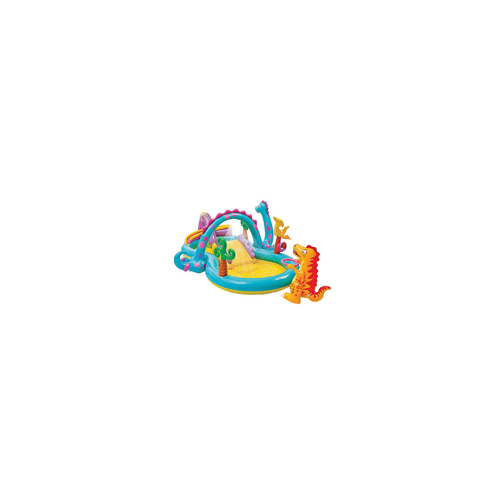 Детский игровой комплекс с бассейном Динолэнд, IntexБассейны<br>Детский игровой комплекс с бассейном Динолэнд, Intex (Интекс) – яркий комплекс отличное решение для отдыха ваших деток в летнее время.<br>Игровой комплекс Динолэнд от компании Intex (Интекс) — это самый настоящий бассейн-аквапарк на вашем дачном участке. Комплекс представляет мягкую, и безопасную конструкцию. Он оснащен надувной горкой, по которой очень весело съезжать прямо в бассейн. Для комфорта и безопасности приземления имеется надувная подушечка у основания горки. В жаркий летний день очень пригодится фонтанчик-душ, подключающийся через садовый шланг! В комплекте разноцветные мягкие надувные мячики и кольца. Имеется надувной желоб, по которому мячики скатываются в бассейн и красочная фигурка тираннозавра, ожидающая бросок в кольцо. Комплекс декорирован надувными деревьями и фигурками животных, от которых так и веет тропиками. Для того, чтобы накачать игровой центр, вам потребуется всего две минуты. Бассейн сделан из 2 независимых воздушных отсеков, каждый имеет двойной клапан для накачивания и предохраняющий клапан от чрезмерно высокого давления. Для слива воды предусмотрен удобный сливной клапан. Изготовлен из прочного винила.<br><br>Дополнительная информация:<br><br>- Для детей от 3 лет<br>- Комплектация: игровой комплекс, 6 мячей диаметром 8 см., 3 кольца, фигурка тираннозавра с кольцом<br>- Размер: 333 х 229 х 112 см.<br>- Глубина: 15 см.<br>- Объем: 280 л.<br>- Материал: прочный ПВХ (винил)<br>- Размер упаковки: 16 х 40 х 51 см.<br>- Вес: 8,5 кг.<br><br>Детский игровой комплекс с бассейном Динолэнд, Intex (Интекс) можно купить в нашем интернет-магазине.<br><br>Ширина мм: 520<br>Глубина мм: 406<br>Высота мм: 159<br>Вес г: 7703<br>Возраст от месяцев: 24<br>Возраст до месяцев: 72<br>Пол: Унисекс<br>Возраст: Детский<br>SKU: 3340382