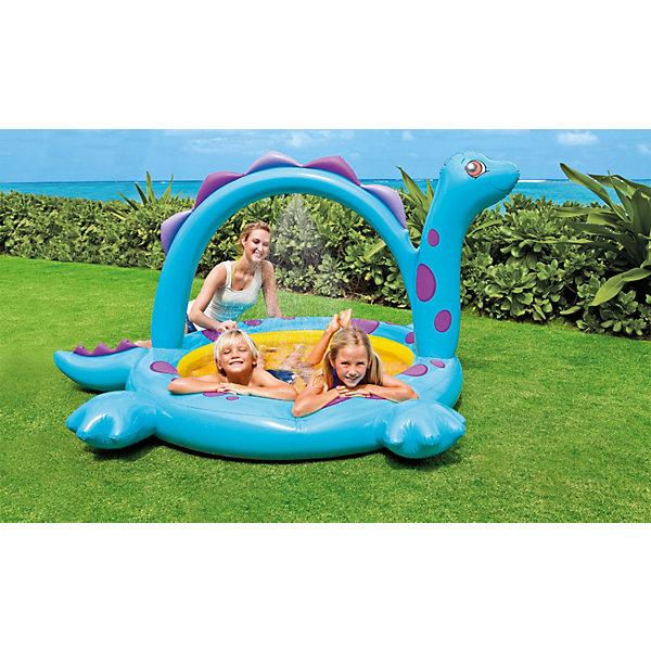 Детский надувной бассейн с фонтанчиком Дино, IntexБассейны<br>Характеристики товара:<br><br>• цвет: голубой<br>• размер бассейна: 229x165x117см<br>• объем (при глубине 17 см): 170 л<br>• вес: 2.8 кг<br>• материал: винил<br>• толщина стенок: 0,28 мм<br>• надувное дно<br>• сливной клапан<br><br>Детский надувной бассейн с фонтанчиком Дино, Intex (Интекс) с разбрызгивателем.  <br><br>Яркий надувной бассейн Intex выполнен в форме динозавра. <br><br>Подключите садовый шланг к разбрызгивателю и встроенный фонтанчик развлечет детей и поднимет им настроение.  <br><br>Бассейн имеет яркую расцветку, выполнен в виде динозавра Дино. Сверху бассейна идет дуга, а по середине отверстие для пульверизатора.<br><br>Детский надувной бассейн с фонтанчиком Дино, Intex (Интекс) можно купить в нашем интернет-магазине.<br>Ширина мм: 311; Глубина мм: 268; Высота мм: 122; Вес г: 2671; Возраст от месяцев: 36; Возраст до месяцев: 72; Пол: Унисекс; Возраст: Детский; SKU: 3340385;