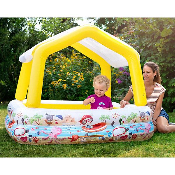Детский надувной бассейн Домик с навесом, IntexБассейны<br>Характеристики товара:<br><br>• размер бассейна: 157x157х122 см<br>• высота бассейна: 38 см (122 см с тентом)<br>• вместимость бассейна: 280 л<br>• вес: 4 кг<br>• навес съёмный.<br>• ненадувное дно<br><br>Детский надувной бассейн Домик с навесом, Intex (Интекс) квадратной формы. <br><br>Его размер позволяет удобно разместиться нескольким детям. Мягкие невысокие стенки бассейна высотой 38 см позволяют родителям следить за детьми, а надувные бортики обеспечивают достаточный уровень безопасности. <br><br>Домик с навесом защищает детей от прямых солнечных лучей. При необходимости навес-домик можно снять.<br><br>Детский надувной бассейн Домик с навесом, Intex (Интекс) можно купить в нашем интернет-магазине.<br>Ширина мм: 358; Глубина мм: 301; Высота мм: 106; Вес г: 3713; Возраст от месяцев: 24; Возраст до месяцев: 1164; Пол: Унисекс; Возраст: Детский; SKU: 3340386;