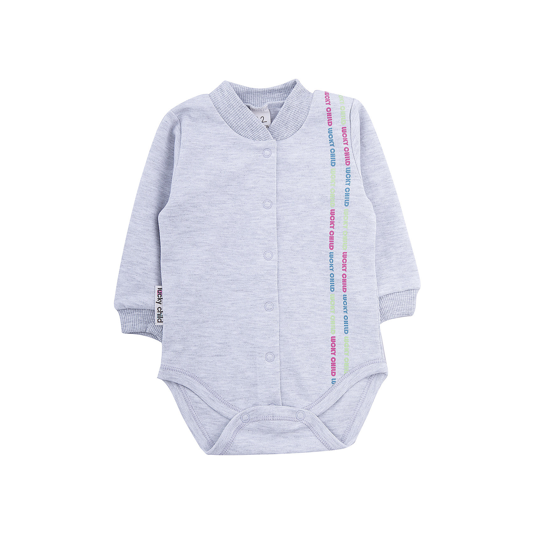 Боди  Lucky ChildБоди<br>Мягкое боди с длинным рукавом для ребенка. Нейтральный цвет, яркий принт. Манжеты и воротничок-стойка из трикотажной резинки. Удобная застежка - кнопки впереди и между ног. Изделие выполнено из гипоаллергенного трикотажа, очень приятного к телу 100% хлопок)<br><br>Ширина мм: 157<br>Глубина мм: 13<br>Высота мм: 119<br>Вес г: 200<br>Цвет: серый<br>Возраст от месяцев: 6<br>Возраст до месяцев: 9<br>Пол: Унисекс<br>Возраст: Детский<br>Размер: 68/74,62/68,56/62,74/80,80/86<br>SKU: 3340743
