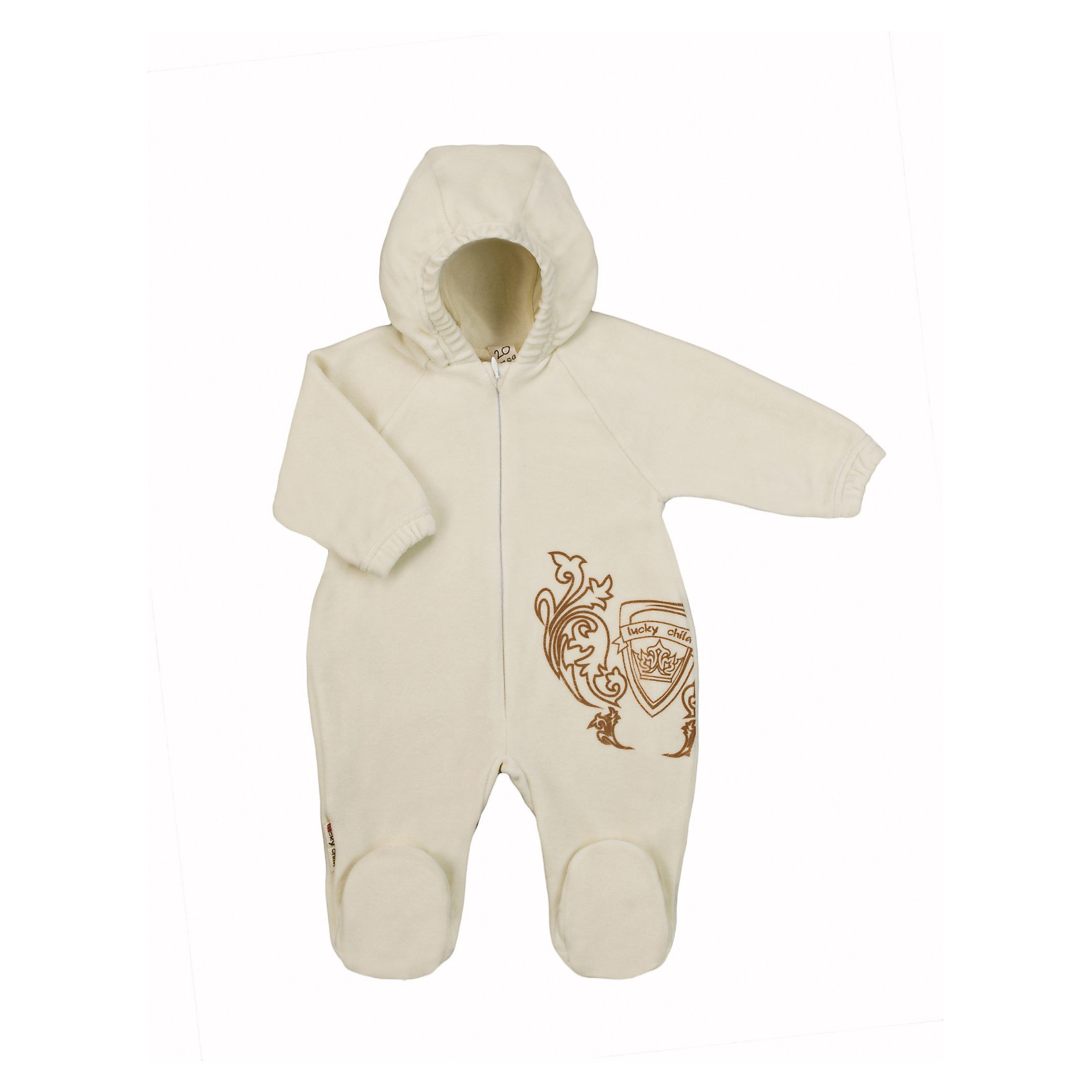 Комбинезон  Lucky ChildКомбинезоны<br>Нежный велюровый комбинезон с закрытыми пяточками для ребенка. Удобная застежка-молния впереди. Капюшон и рукава с эластичным краем для лучшего прилегания к телу и сохранения тепла. Подкладка в тон из натурального гипоаллергенного материала (100% хлопок).<br><br>Ширина мм: 157<br>Глубина мм: 13<br>Высота мм: 119<br>Вес г: 200<br>Цвет: экрю<br>Возраст от месяцев: 9<br>Возраст до месяцев: 12<br>Пол: Унисекс<br>Возраст: Детский<br>Размер: 74/80,56/62,80/86,68/74,62/68<br>SKU: 3340805