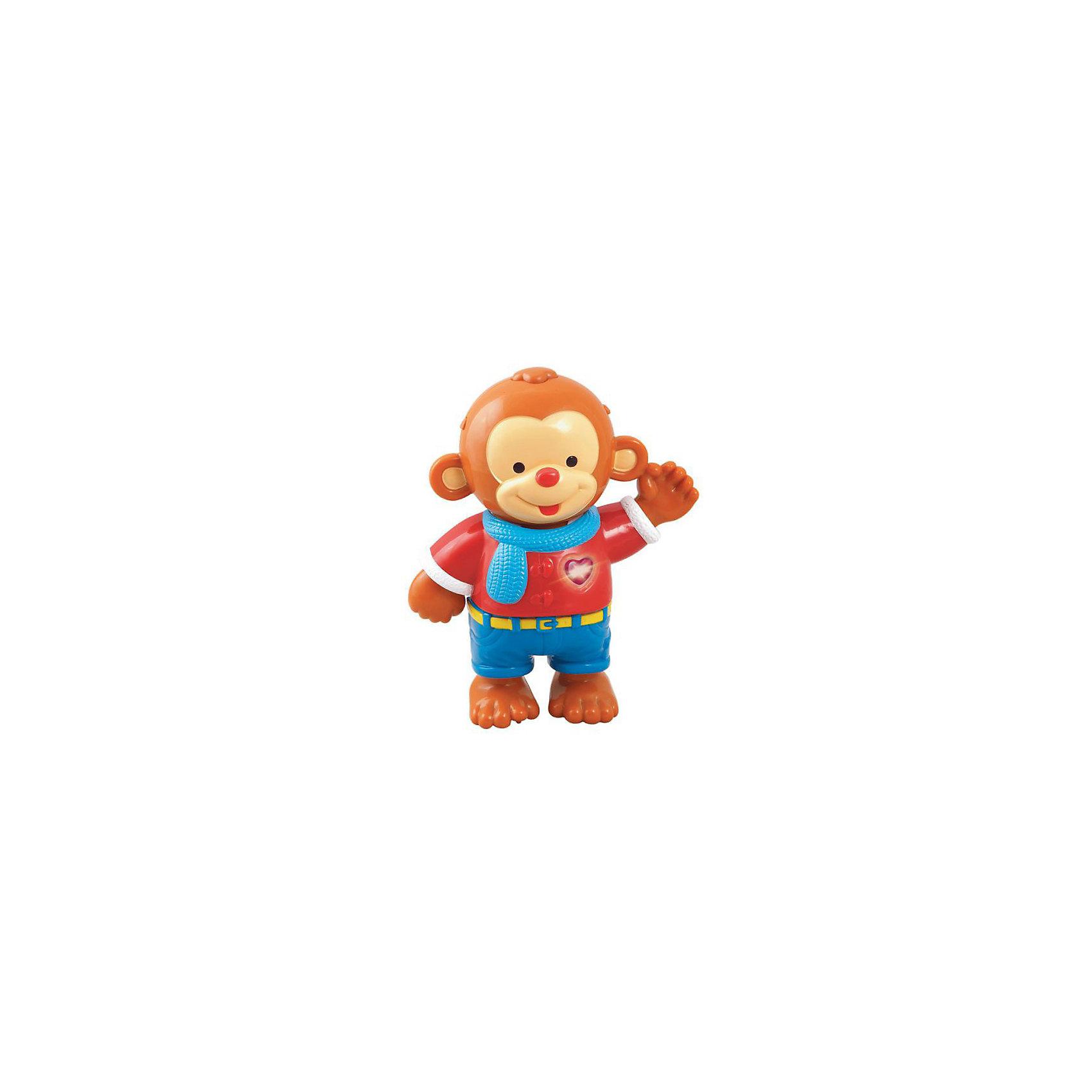 Развивающая игрушка Одень обезьянку, VtechИнтерактивные игрушки для малышей<br>Развивающая игрушка Одень обезьянку, Vtech (Втеч).<br><br>Характеристики:<br><br>• Для детей от 1,5 лет до 3 лет<br>• Комплектация: интерактивная фигурка обезьянки, 8 различных элементов одежды, сумка для хранения одежды<br>• Материал: пластик<br>• Размер обезьянки: 16х19х6,5 см.<br>• Обучающие режимы: учимся различать цвета, учимся подбирать одежду в зависимости от типа погоды и самочувствия, узнаём, какие бывают предпочтения в одежде<br>• 13 мелодий и 1 песня<br>• Батарейки: 2 типа ААА (в комплекте демонстрационные)<br>• Упаковка: красочная подарочная коробка<br>• Размер упаковки: 32х27,5х9 см.<br><br>Развивающая игрушка Одень обезьянку от французской компании Vtech – великолепный игровой набор, который надолго увлечет малышей. В набор входит интерактивная фигурка обезьянки, а также 8 различных элементов одежды. <br><br>Задача малыша - придумать для обезьянки разные наряды. Когда ребенок будет одевать на обезьянку элементы одежды, она будет проговаривать их названия. Ну а множество веселых ободряющих звуков и мелодий сделают игру еще интереснее. В процессе игры ребенок выучит названия одежды, научится различать цвета и познакомится с навыками повседневной жизни. Режим «Экзамен» позволит закрепить полученные знания. <br><br>При нажатии на светящуюся кнопку-сердечко, расположенную на груди обезьянки, зазвучит веселая песня «Улыбка» из мультфильма «Крошка Енот». Игрушка озвучена профессиональным голосом. Предусмотрен таймер автоматического отключения. Игрушка изготовлена из прочного безопасного не бьющегося пластика. Продается в красочной коробке и идеально подходит в качестве подарка.<br><br>Развивающую игрушку Одень обезьянку, Vtech (Втеч) можно купить в нашем интернет-магазине.<br><br>Ширина мм: 330<br>Глубина мм: 100<br>Высота мм: 280<br>Вес г: 900<br>Возраст от месяцев: 18<br>Возраст до месяцев: 36<br>Пол: Унисекс<br>Возраст: Детский<br>SKU: 3341124