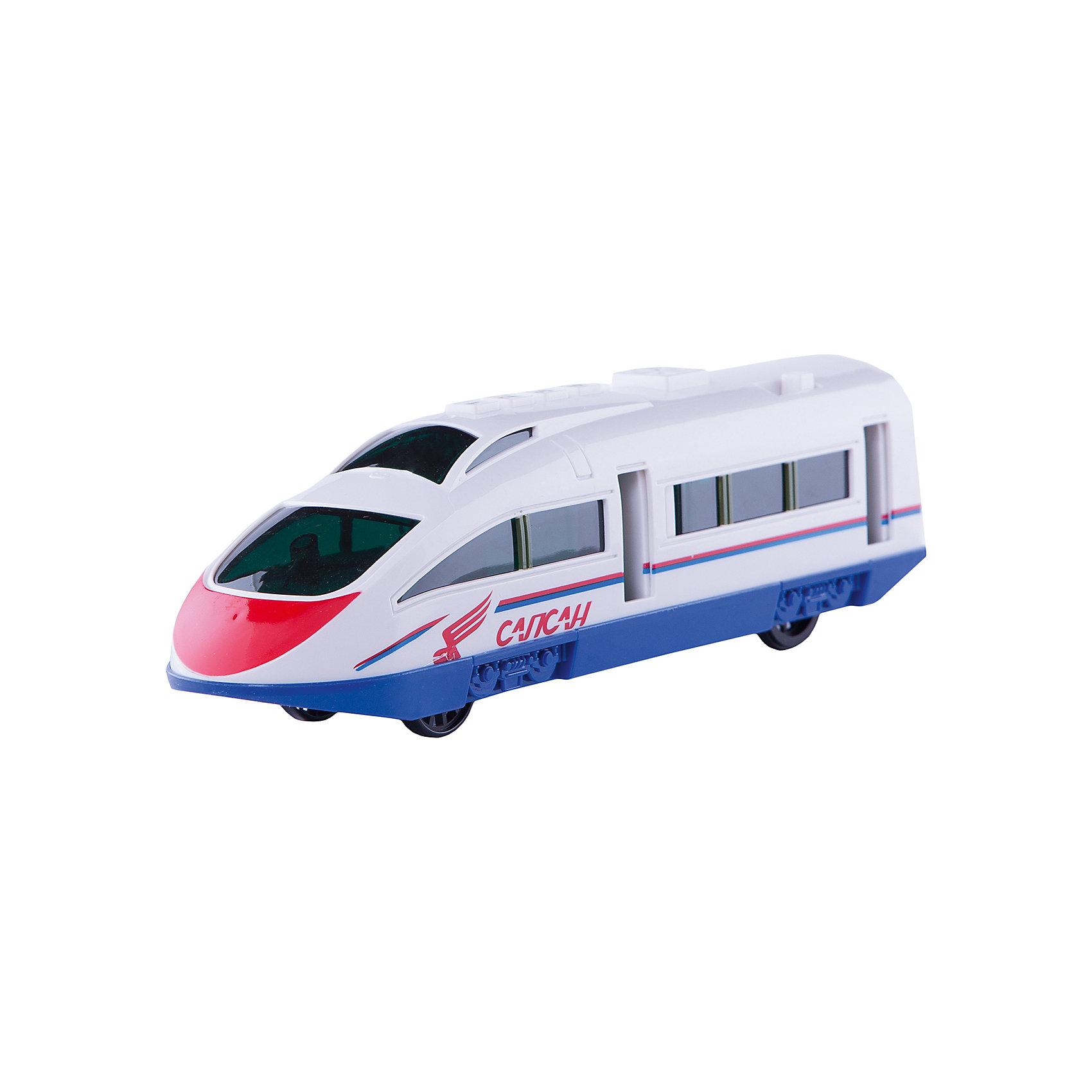 Скоростной  поезд Сапсан со светом и звуком, ТЕХНОПАРКСкоростной  поезд Сапсан Технопарк - замечательный подарок, который вызовет восторг у маленьких любителей железнодорожной техники. Модель выполнена в дизайне реального поезда Сапсан РЖД, с бело-синей расцветкой и надписью Сапсан на боку, отличается высокой степенью детализации, двери открываются. Поезд способен ускоряться и двигаться вперед за счет инерционного механизма: игрушку следует откатить назад, слегка нажав на ее крышу и отпустить. Модель оснащена световыми и звуковыми эффектами (можно прослушать реальные объявления для пассажиров Сапсана).<br><br>Дополнительная информация:<br><br>- Материал: металл, пластик.<br>- Требуются батарейки: 2 х АА 1,5 V (в комплект не входят).<br>- Размер игрушки: 23 см.<br>- Размер упаковки: 33 х 11,5 х 10,5 см.<br><br>Скоростной  поезд Сапсан со светом и звуком, Технопарк можно купить в нашем интернет-магазине.<br><br>Ширина мм: 100<br>Глубина мм: 340<br>Высота мм: 120<br>Вес г: 450<br>Возраст от месяцев: 36<br>Возраст до месяцев: 1188<br>Пол: Мужской<br>Возраст: Детский<br>SKU: 3341125