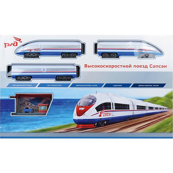 Железная дорога Сапсан, со светом и звуком, Играем вместеЖелезные дороги<br>Железная дорога Сапсан, со светом и звуком, Играем вместе - реалистичная игрушечная железная дорога, которая наверняка понравится мальчишкам всех возрастов.<br><br>Скоростной российский поезд Сапсан позволил вдвое сократить время в пути между Москвой и Санкт-Петербургом. <br>Сапсан поставляется в наборе с 15-ю деталями железной дороги. Протяжённость игрушечных путей 475 см. <br>Сапсан имеет световые и звуковые эффекты: слышен звук движущегося поезда, а прожектор освещает путь.<br><br>Дополнительная информация:<br><br>- В комплекте: поезд, рельсы, перрон.<br>- Игрушка со светом и звуком.<br>- Протяженность путей: 475 см.<br>- Материал: пластмасса, металл.<br>- Питание:  2 х AA / LR6 1.5V (пальчиковые, не входят в комплект).<br><br>Железная дорога Сапсан, со светом и звуком, Играем вместе можно купить в нашем интернет-магазине.<br><br>Ширина мм: 70<br>Глубина мм: 600<br>Высота мм: 360<br>Вес г: 1260<br>Возраст от месяцев: 36<br>Возраст до месяцев: 1188<br>Пол: Мужской<br>Возраст: Детский<br>SKU: 3341129