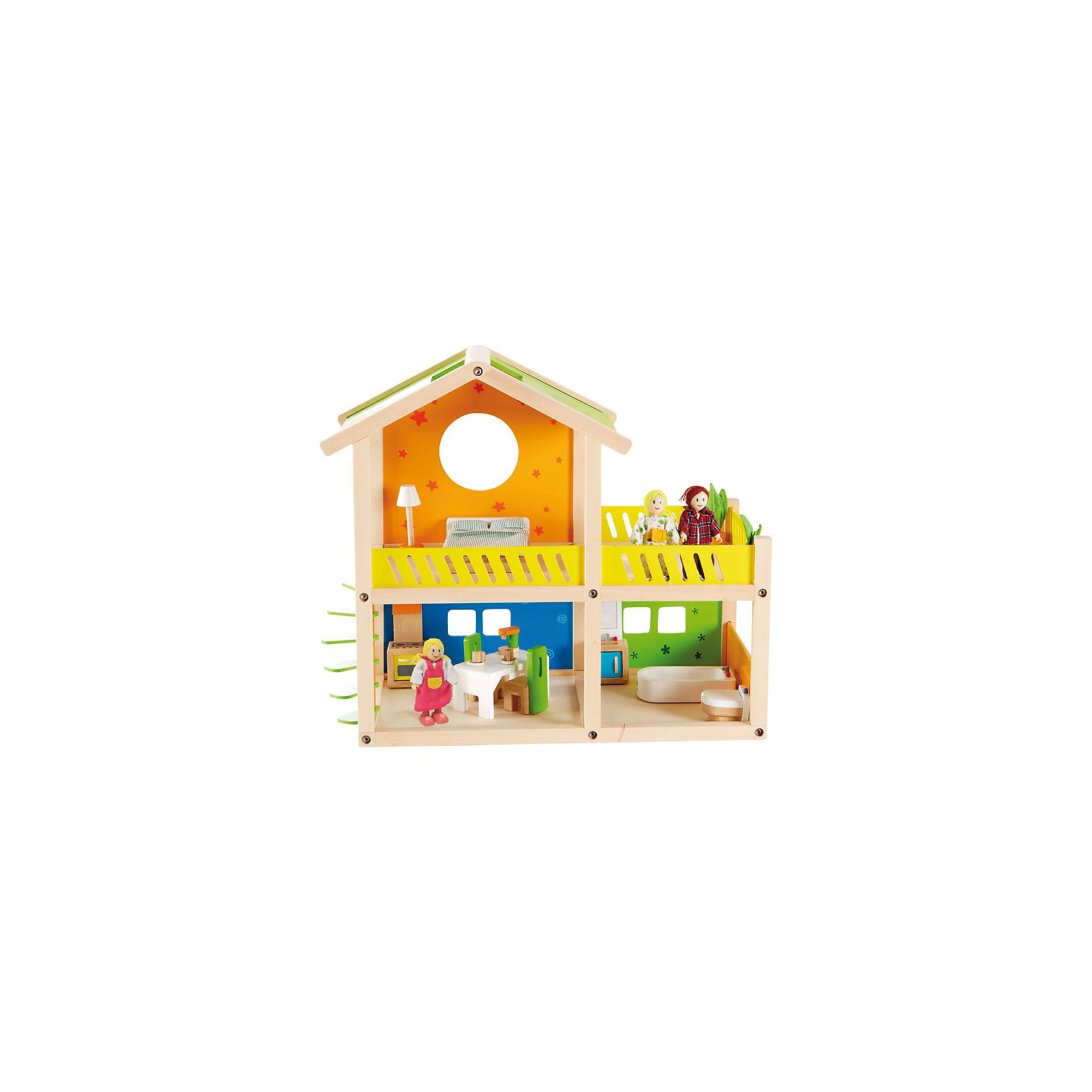 Кукольный домик Кукольный домик позволит малышам придумать собственную семью<br>Ролевая игра развивает воображение, навыки общения, облегчает процесс социализации<br>Весь интерьер максимально приближен к настоящему: комплект пастельного белья, набор посуды, все шкафы открываются, растения изготовлены из войлока – напоминают настоящие.<br><br>Дополнительная информация:<br><br>В набор входит: кукольный домик, мебель для ванной, кухни, спальни и террасы, 3 фигурки<br>Размер: 47 x 25 x 44 см<br><br>Кукольный домик с мебелью и фигурками, Hape можно купить в нашем магазине.<br><br>Ширина мм: 530<br>Глубина мм: 482<br>Высота мм: 105<br>Вес г: 3380<br>Возраст от месяцев: 36<br>Возраст до месяцев: 72<br>Пол: Унисекс<br>Возраст: Детский<br>SKU: 3341518