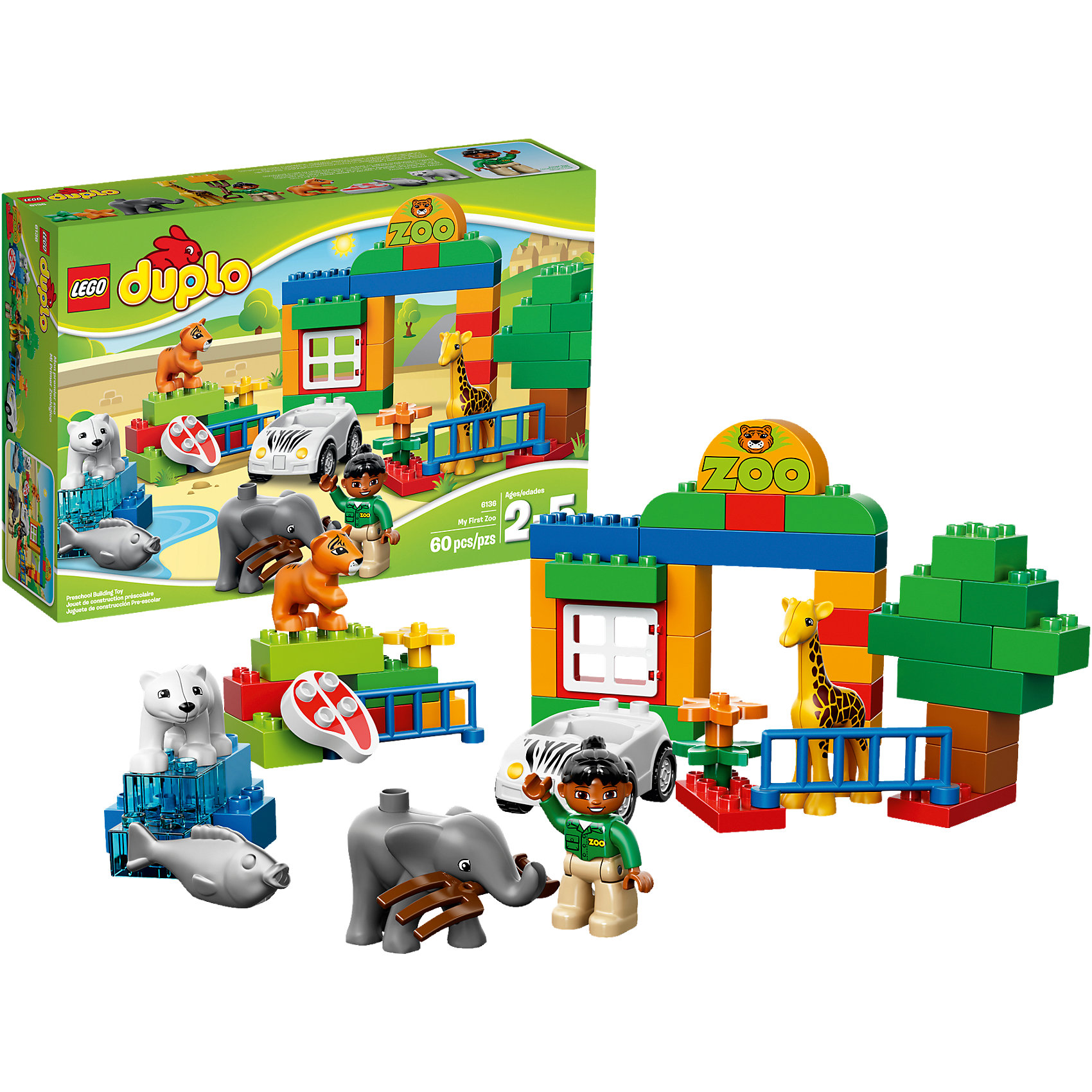LEGO DUPLO 6136: Мой первый ЗоопаркИз красочных деталей  различной формы  набора LEGO DUPLO (ЛЕГО Дупло) 6136: Мой первый Зоопарк малыш сможет выстроить целый зоопарк с воротами и просторными вольерами для животных. Планировка зоопарка может быть самой разной и зависит от фантазии малыша. Среди обитателей зоопарка ребенок найдет и симпатичного слоненка, забавного тигренка, жирафа и даже белого медведя. Для постройки вольера белого медведя в наборе имеются полупрозрачные элементы, имитирующие лед и воду. Служитель зоопарка на белой машинке каждый день развозит еду для своих питомцев: мясо - тигру, рыбу - медведю, сено - слону и жирафу.<br><br>LEGO DUPLO (ЛЕГО Дупло) 6136: Мой первый Зоопарк - увлекательный игровой набор, который станет замечательным подарком для Вашего малыша. ЛЕГО Дупло - серия конструкторов для малышей, которую отличает крупные яркие детали со скругленными углами и многообразие игровых сюжетов, это и животные, и растения, и машинки, и сказочные персонажи.<br><br>Дополнительная информация:<br><br>- Количество деталей: 60.<br>- Количество минифигур: 5 (служитель зоопарка, тигр, слон, жираф и белый медведь).<br>- Серия: ЛЕГО Дупло. <br>- Материал: пластик.<br>- Размер упаковки: 38 х 26 х10 см.<br>- Вес: 0,8 кг.<br><br>Игра с конструктором развивает мелкую моторику, фантазию и воображение ребенка, учит его усидчивости и внимательности. <br><br>Конструктор LEGO DUPLO (ЛЕГО Дупло) 6136: Мой первый Зоопарк можно купить в нашем интернет-магазине.<br><br>Ширина мм: 386<br>Глубина мм: 261<br>Высота мм: 100<br>Вес г: 798<br>Возраст от месяцев: 24<br>Возраст до месяцев: 60<br>Пол: Унисекс<br>Возраст: Детский<br>SKU: 3342497