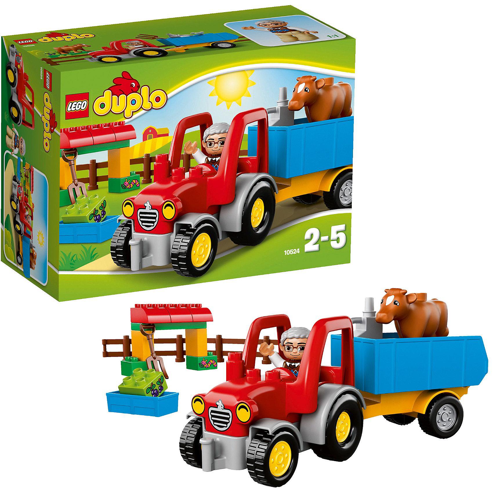 LEGO DUPLO 10524: Сельскохозяйственный тракторПластмассовые конструкторы<br>LEGO DUPLO (ЛЕГО Дупло) 10524: Сельскохозяйственный трактор - увлекательный набор, который позволит собрать Сельскохозяйственный трактор для самых маленьких.<br><br>В наборе есть все необходимое для интересных сюжетно-ролевых игр и увлекательных историй на ферме. С помощью мощного яркого трактора можно перевозить не только животных фермы, но и различные грузы, инструменты и свежий корм. Опускающийся и поднимающийся синий прицеп поможет легко и быстро перевозить нужные грузы.<br><br>В комплекте вы найдете фигурки фермера и теленка, коричневый забор, вилы, кормушку для животных, бак с бензином для заправки трактора, а также необходимые детали для постройки загона для животных.<br><br>ЛЕГО Дупло - серия конструкторов для малышей, которую отличает крупные яркие детали со скругленными углами и многообразие игровых сюжетов, это и животные, и растения, и машинки, и сказочные персонажи. <br><br>Дополнительная информация:<br><br>- Количество деталей: 29.<br>- В наборе: трактор, прицеп, фермер, теленок, забор, вилы, большая кормушка, бак с горючим, кубики с изображением гусеницы и ягод.<br>- Количество минифигур: 2 (фермер, теленок).<br>- Серия: ЛЕГО Дупло. <br>- Материал: пластик.<br>- Размер упаковки: 26 х 19 х 12 см.<br>- Вес: 0,635 кг. <br><br>Игра с конструктором развивает мелкую моторику, фантазию и воображение ребенка, учит его усидчивости и внимательности.<br><br>Конструктор LEGO DUPLO (ЛЕГО Дупло) 10524: Сельскохозяйственный трактор можно купить в нашем интернет-магазине.<br><br>Ширина мм: 264<br>Глубина мм: 193<br>Высота мм: 119<br>Вес г: 545<br>Возраст от месяцев: 24<br>Возраст до месяцев: 60<br>Пол: Мужской<br>Возраст: Детский<br>SKU: 3342501