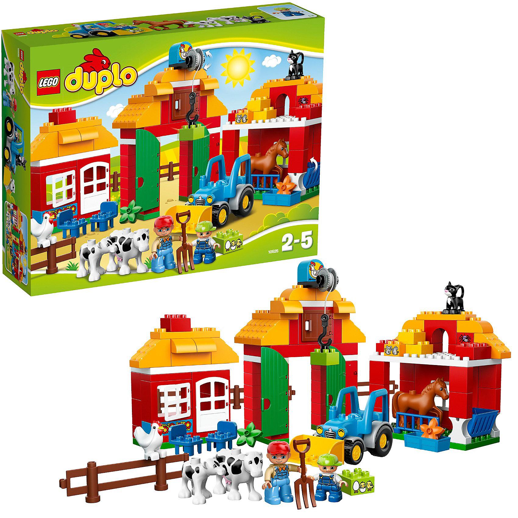 LEGO DUPLO 10525: Большая фермаИдеи подарков<br>LEGO DUPLO (ЛЕГО Дупло) 10525: Большая ферма Lego Duplo - увлекательный и познавательный игровой набор, который познакомит Вашего малыша с жизнью на ферме. <br><br>Конструктор LEGO Большая ферма содержит все необходимые детали, для того, чтобы собрать постройки для фермы сельский домик, сарайс для хранения кормов и инструментов с лебедкой на крыше, большой хлев для животных. У сарая открываются двери и есть лебедка для подъема сена наверх. У фермерского дома открываются двери и окна, есть 2 стула. В хлеву открывается окно и есть кормушка. Вести хозяйство поможет и мощный трактор lego 10525 , который готов приступить к работе в полях.<br><br>Набор отлично поможет малышам поближе познакомиться с жизнью на ферме, ее жителями и основными процессами работы.<br><br>ЛЕГО Дупло - серия конструкторов для малышей, которую отличает крупные яркие детали со скругленными углами и многообразие игровых сюжетов, это и животные, и растения, и машинки, и сказочные персонажи.<br><br>Дополнительная информация:<br><br>- Количество деталей: 121<br>- В наборе: две минифигурки: фермер и его сын, сарай для хранения продуктов, сельский домик, большой хлев, трактор для работы, фигурки лошади, теленка, коровы, курицы и <br> кошки, аксессуары: вилы, кормушка, кубики ЛЕГО с нарисованными цветами, курочка, мышка и цветы.<br>- Количество минифигур: 7.<br>- Серия: ЛЕГО Дупло. <br>- Материал: пластик.<br> -Размеры фермерского дома: 19 x 8 x 16 см.<br>- Размеры сарая: 28 x 19 x 15 см.<br>- Размеры стойла: 21 x 22 см.<br>- Размеры трактора с ковшом: 9 x 15 x 7 см.<br>- Размер упаковки: 37 x 11 x 48 см. <br>- Вес: 1,86 кг. <br><br>Игра с конструктором развивает мелкую моторику, фантазию и воображение ребенка, учит его усидчивости и внимательности.<br><br>Конструктор LEGO DUPLO (ЛЕГО Дупло) 10525: Большая ферма можно купить в нашем интернет-магазине.<br><br>Ширина мм: 482<br>Глубина мм: 375<br>Высота мм: 114<br>Вес г: 1846<br>Возраст от месяцев: 24<br>Возра